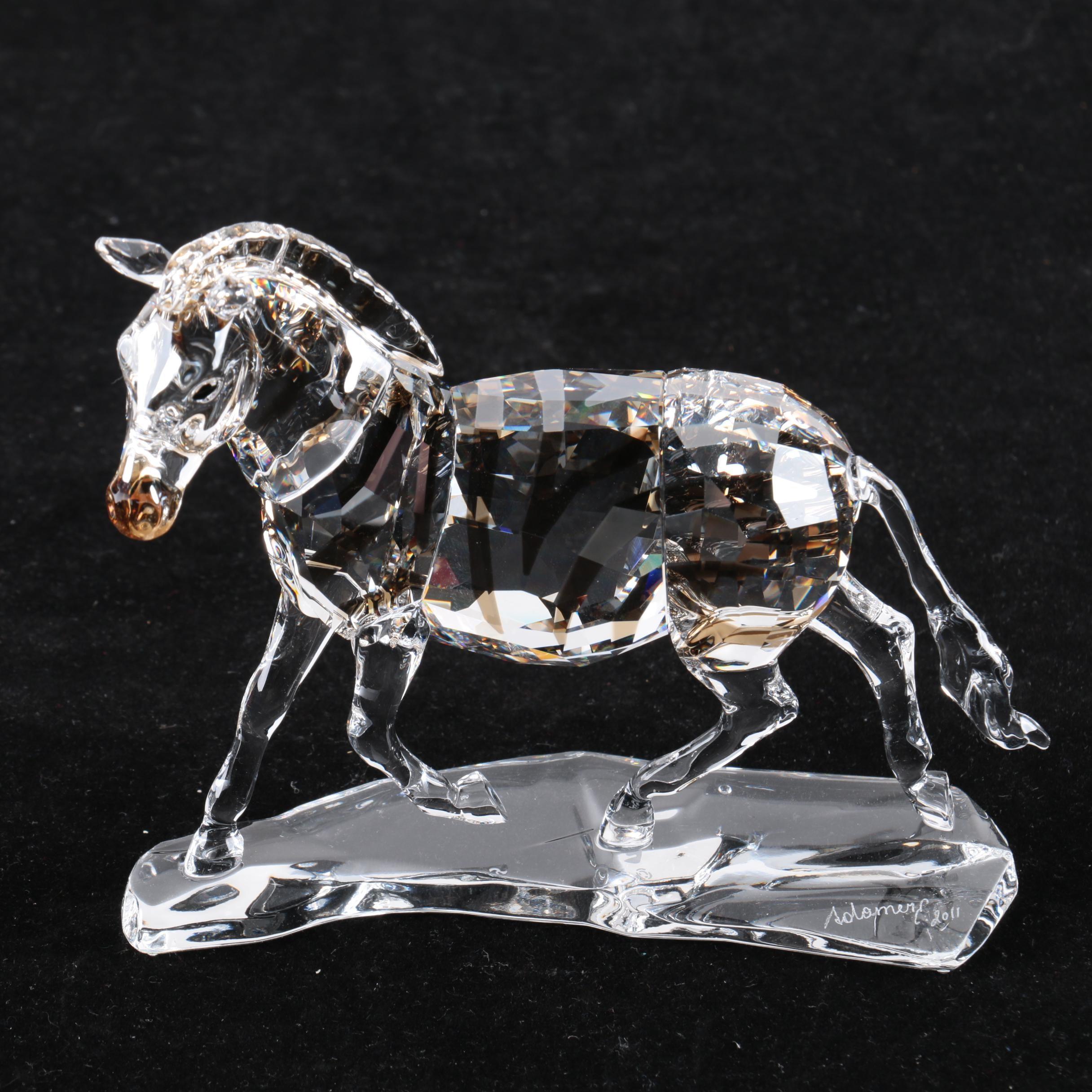 Swarovski Crystal Zebra Figurine by Elisabeth Adamer