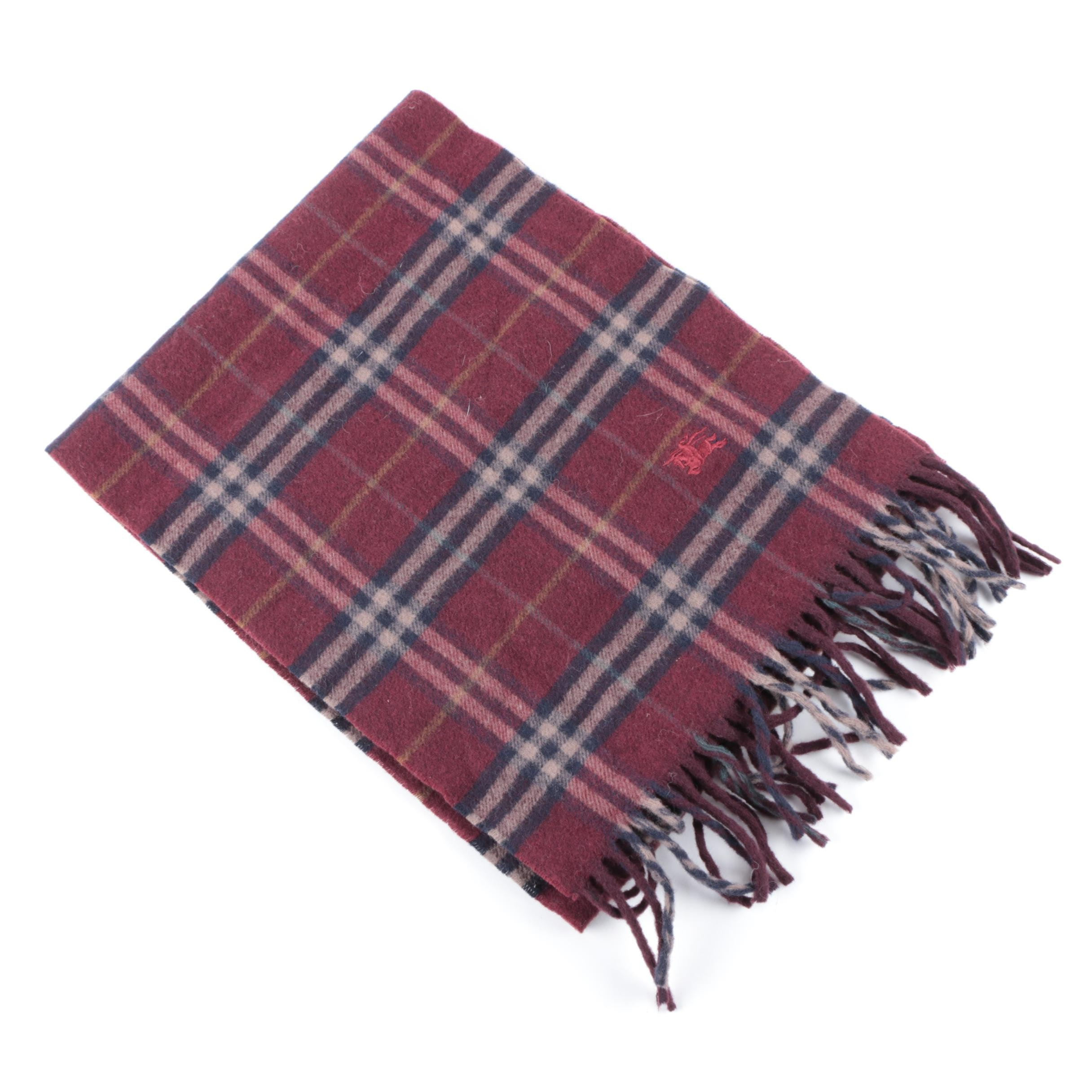 Burberry Red and Navy Plaid Wool Scarf