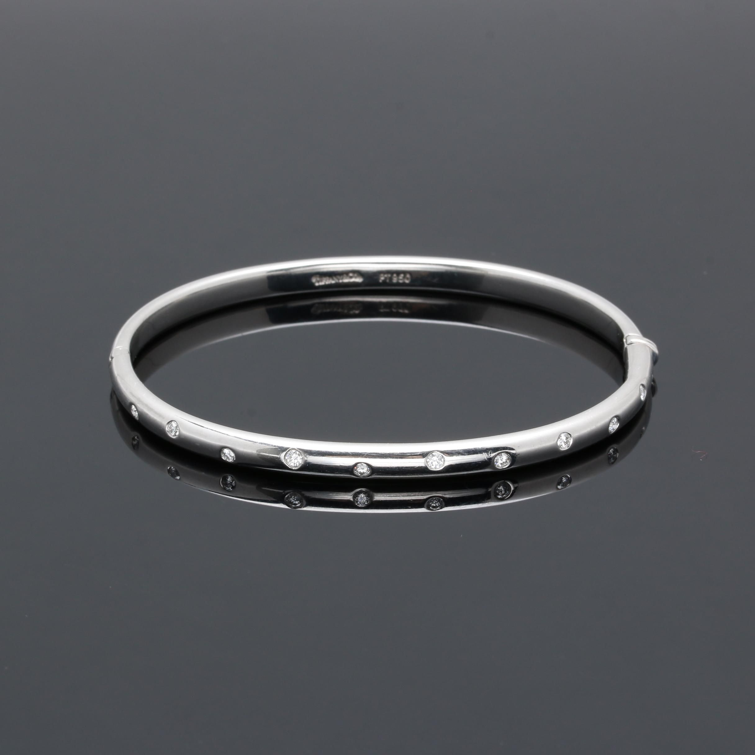 "Tiffany & Co. ""Étoile"" Platinum Diamond Bangle Bracelet"