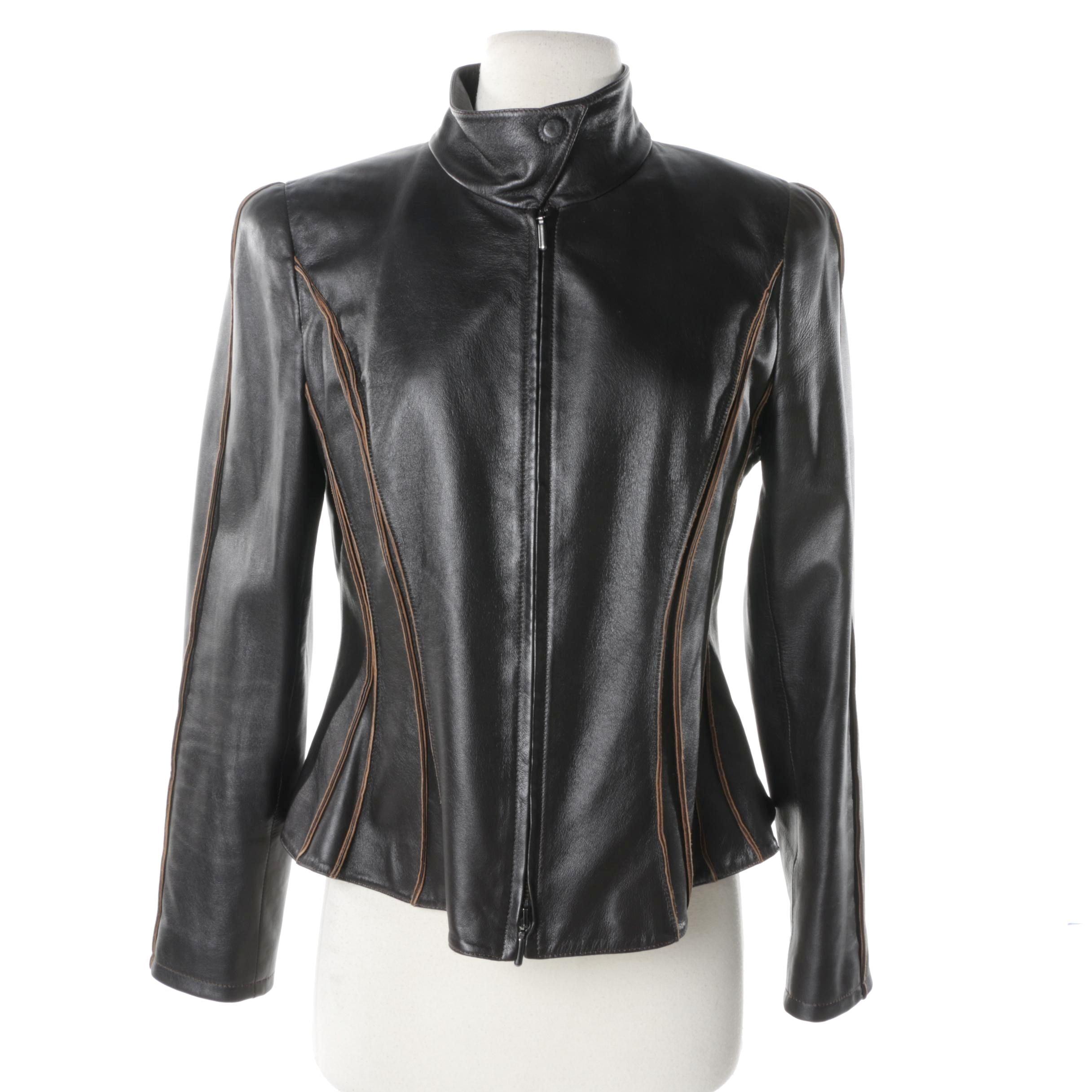 Giorgio Armani Collezioni Leather Motorcycle Jacket