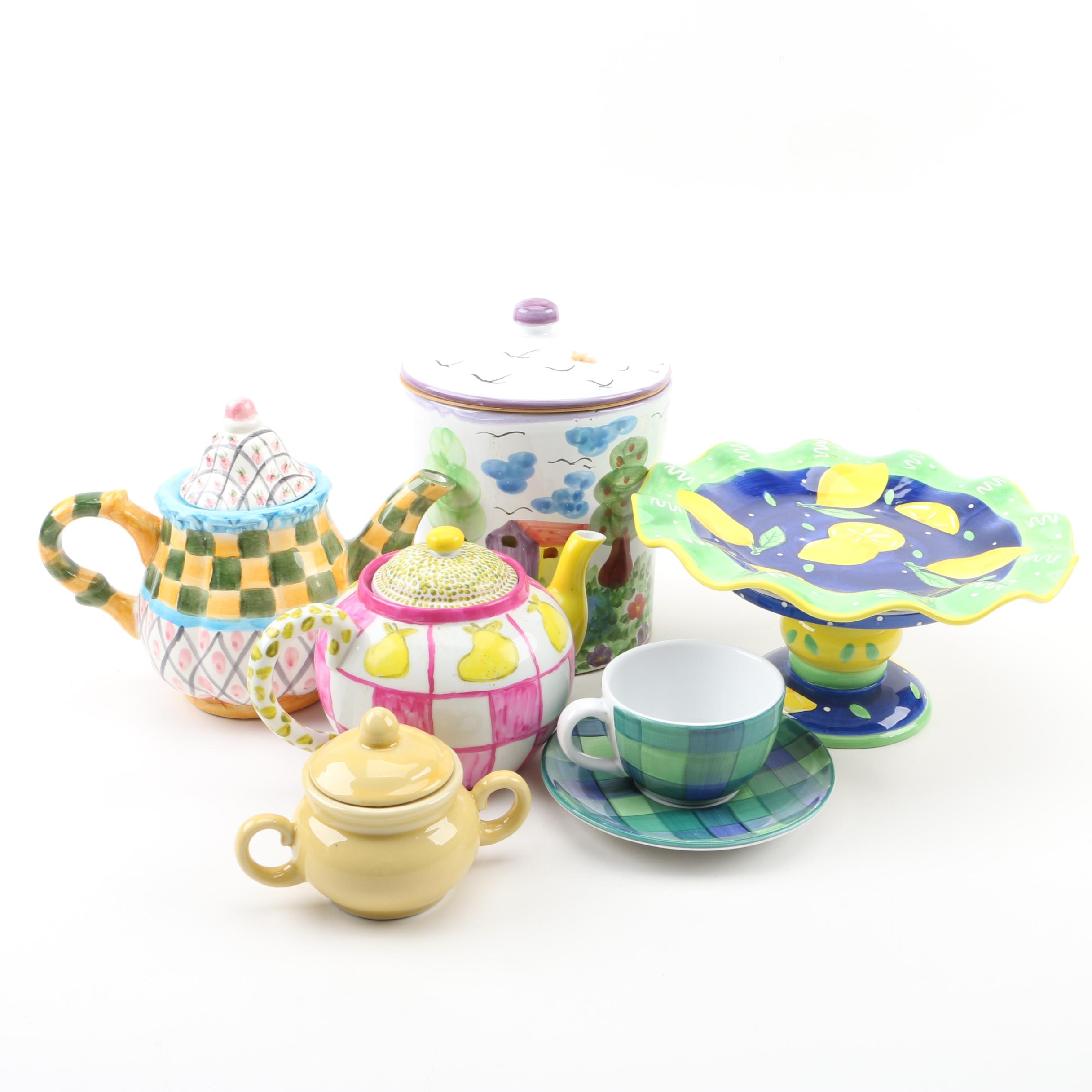 Colorful Patterned Teapots and Table Accessories Including Williams-Sonoma