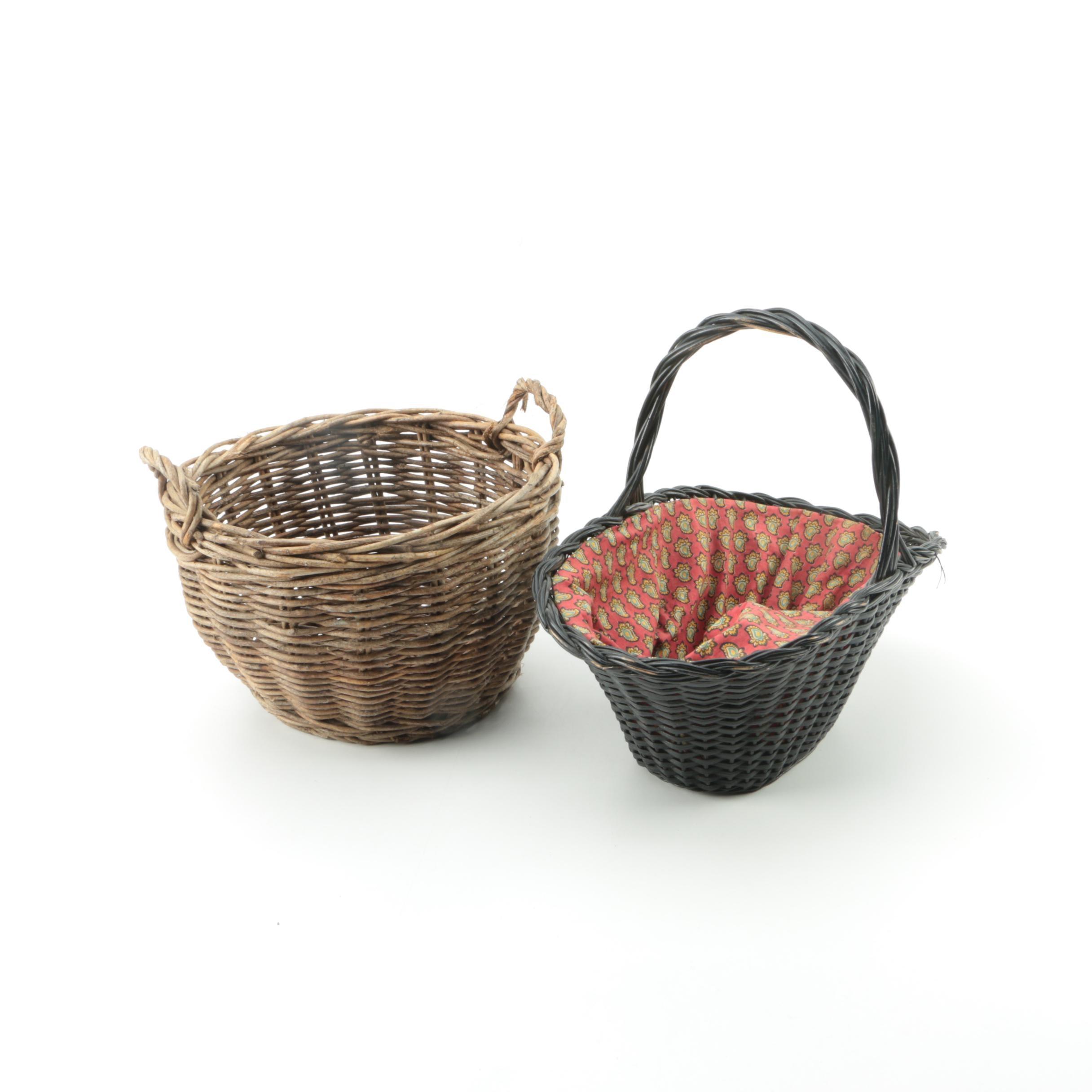 Woven Wicker Handled Baskets