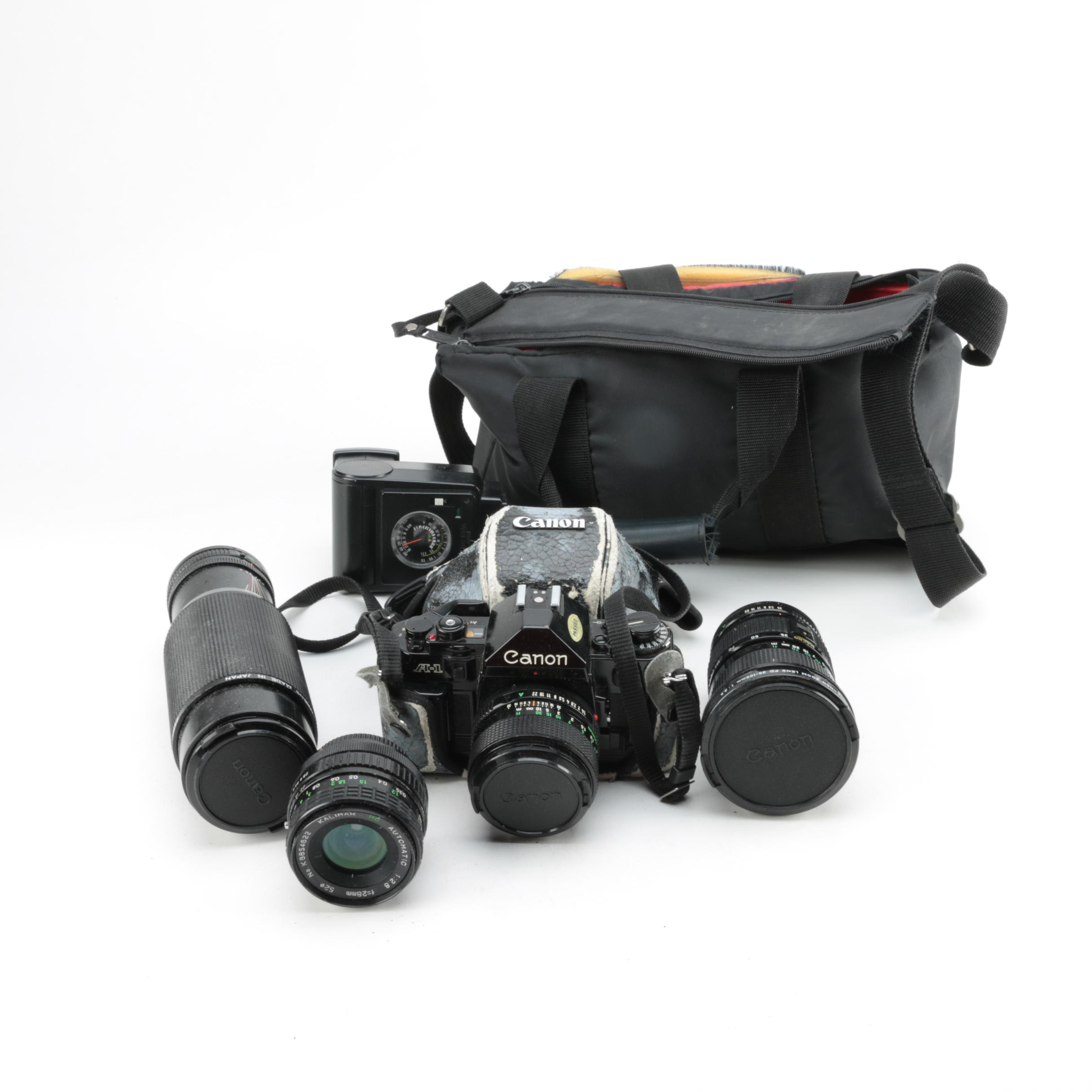 Canon A-1 Still Camera with Lenses, Accessories and Camera Bag