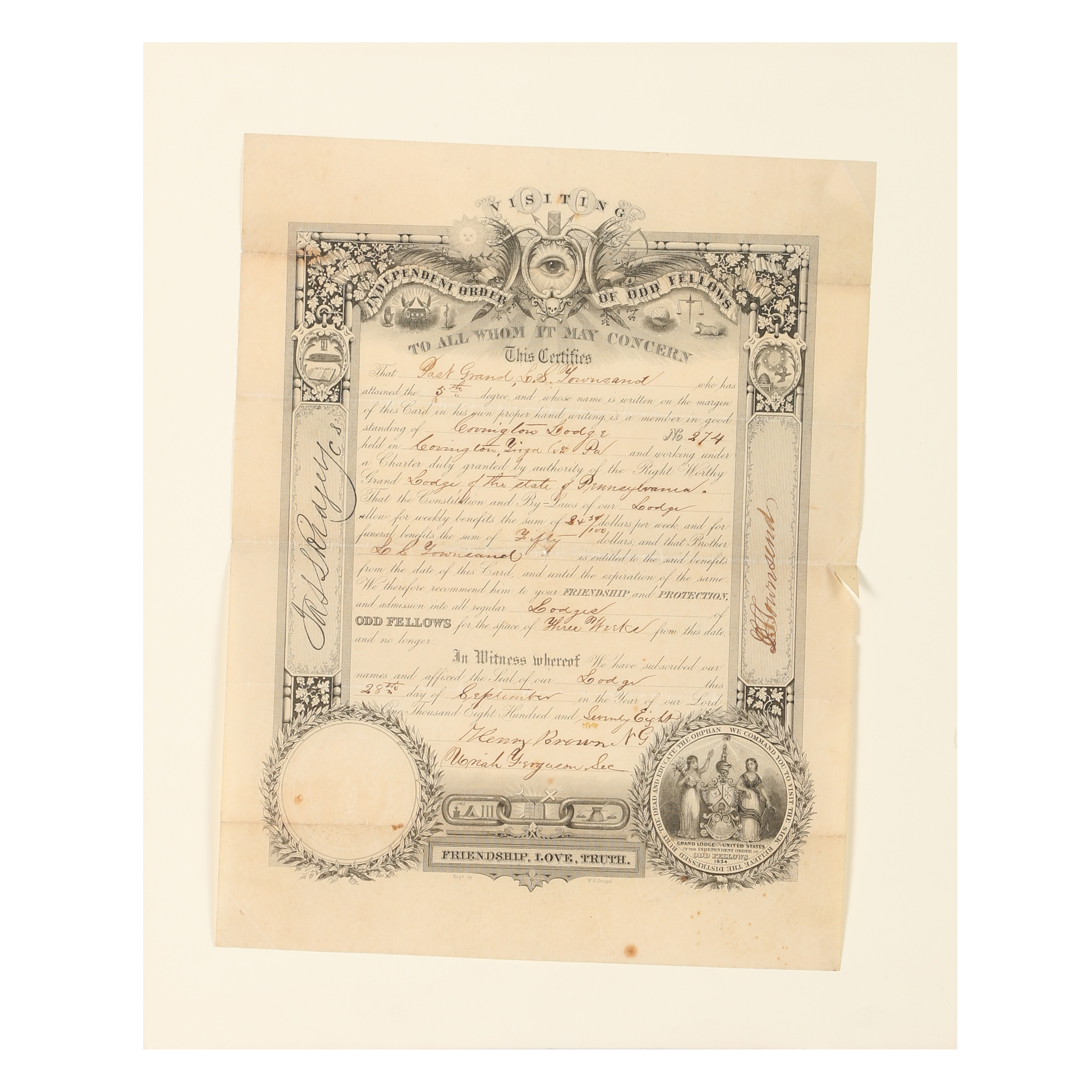 """William H. Dougal Engraving """"Independent Order of Odd Fellows"""""""