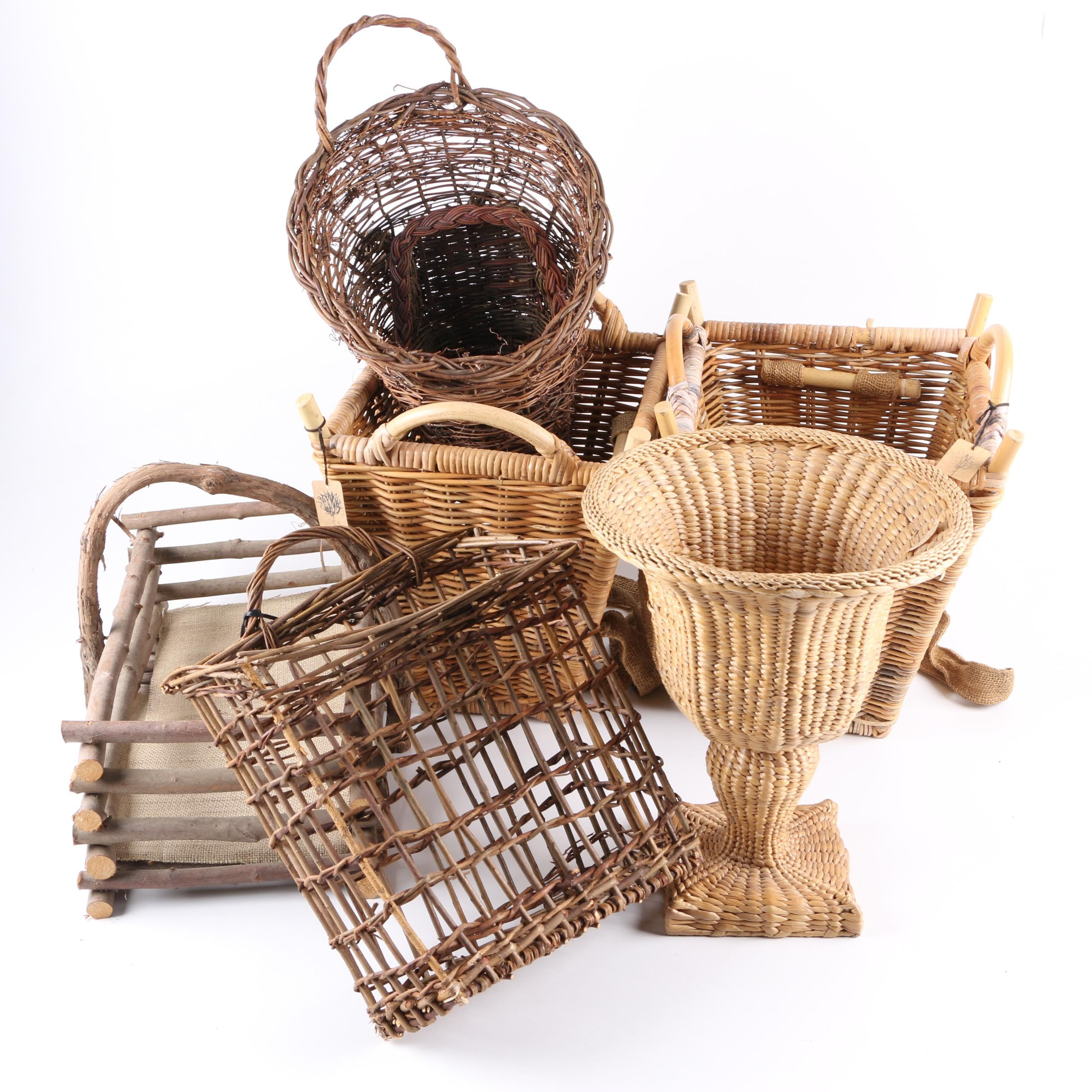 Collection of Wooden Baskets, Planters and Cornucopias
