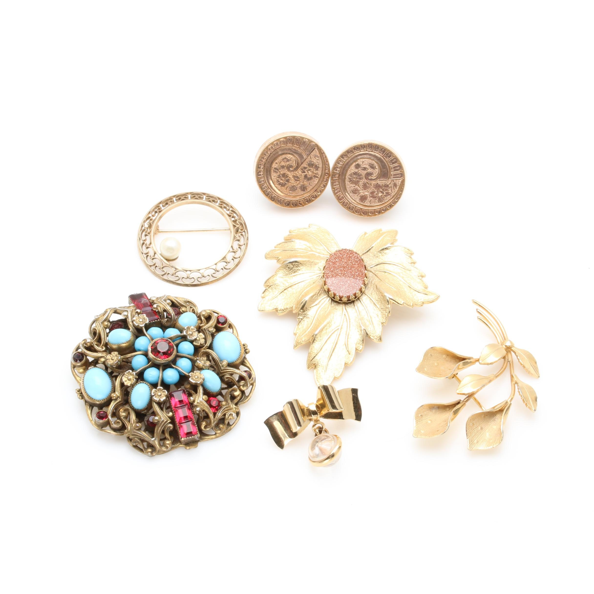 Assortment of Costume Jewelry Including Brooches and Cufflinks