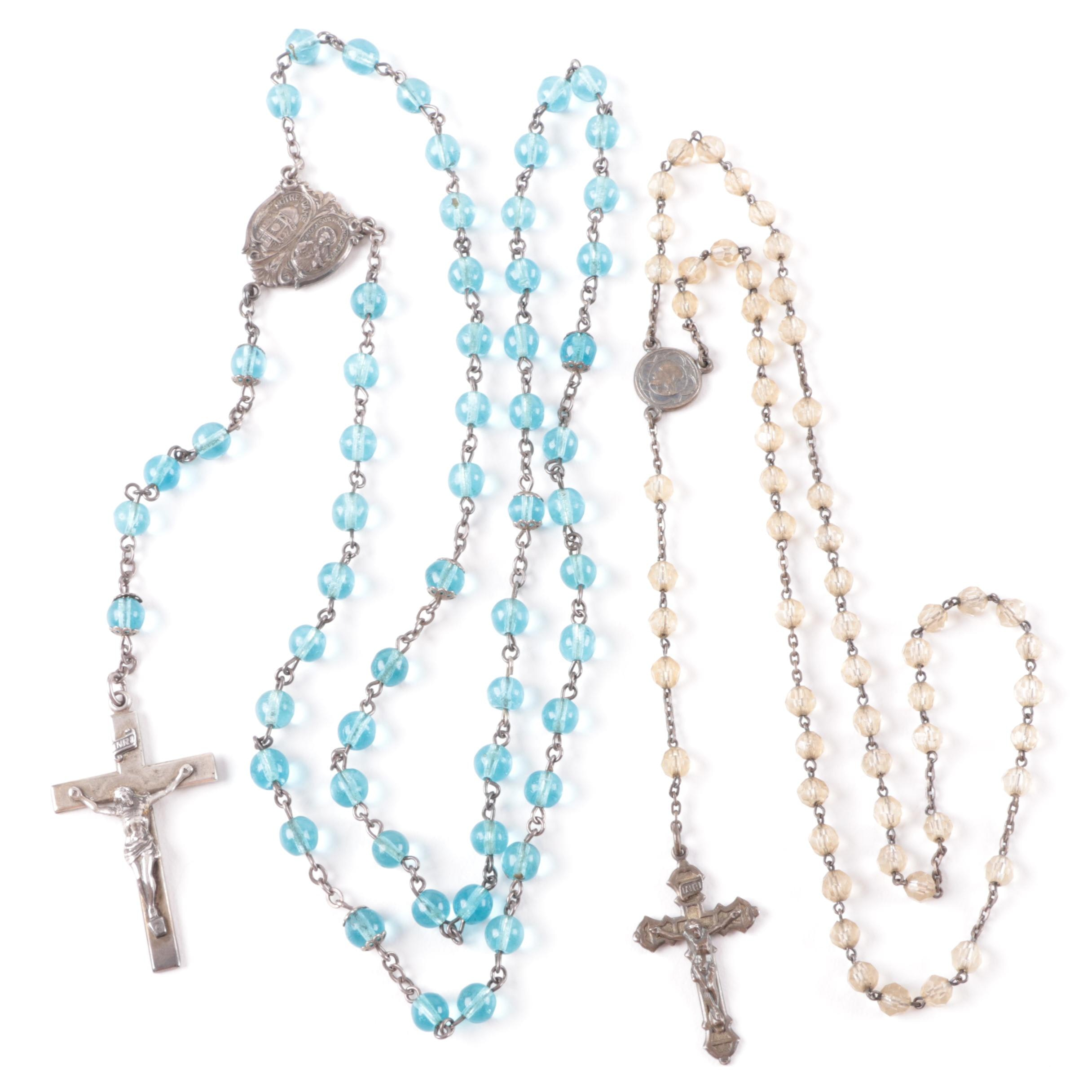 Pair of Sterling Silver and Glass Rosaries