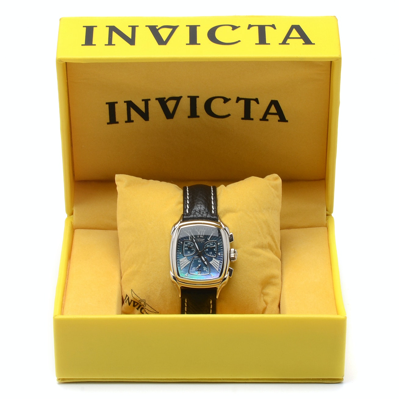 Invicta Black Mother of Pearl Chronograph Quartz Stainless Steel Wristwatch
