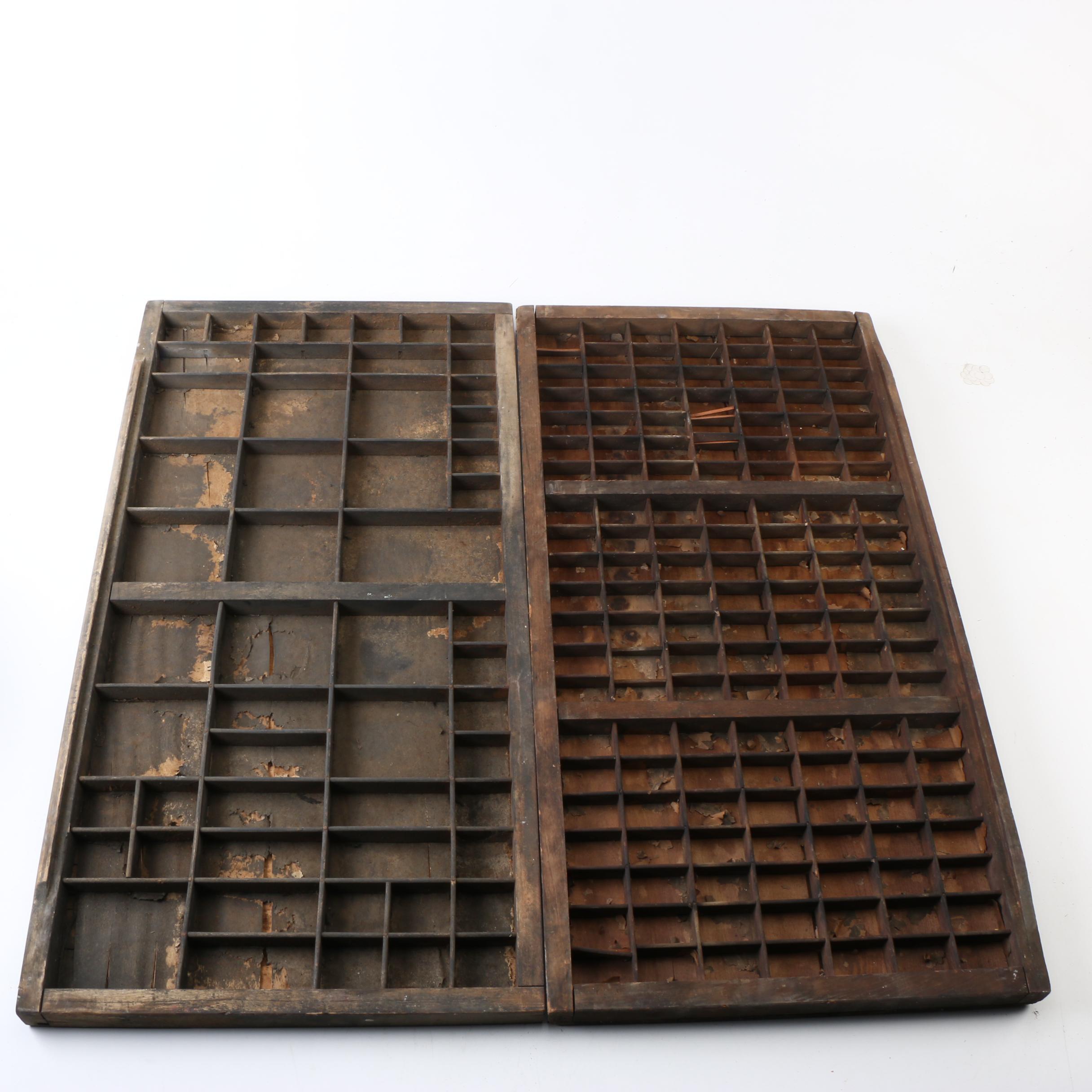 Vintage Printer's Typeset Trays