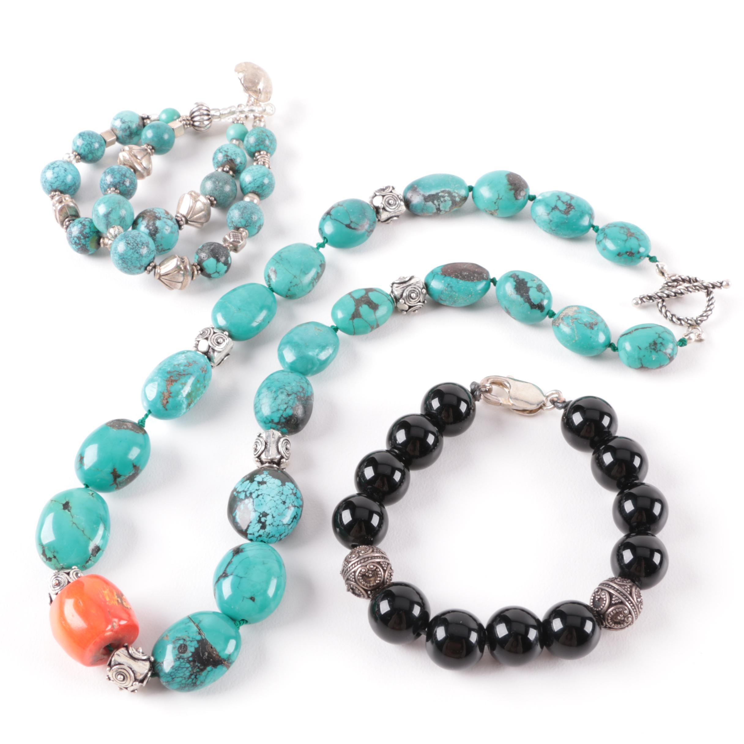 Sterling Silver Necklace and Bracelet Selection Featuring Turquoise and Coral