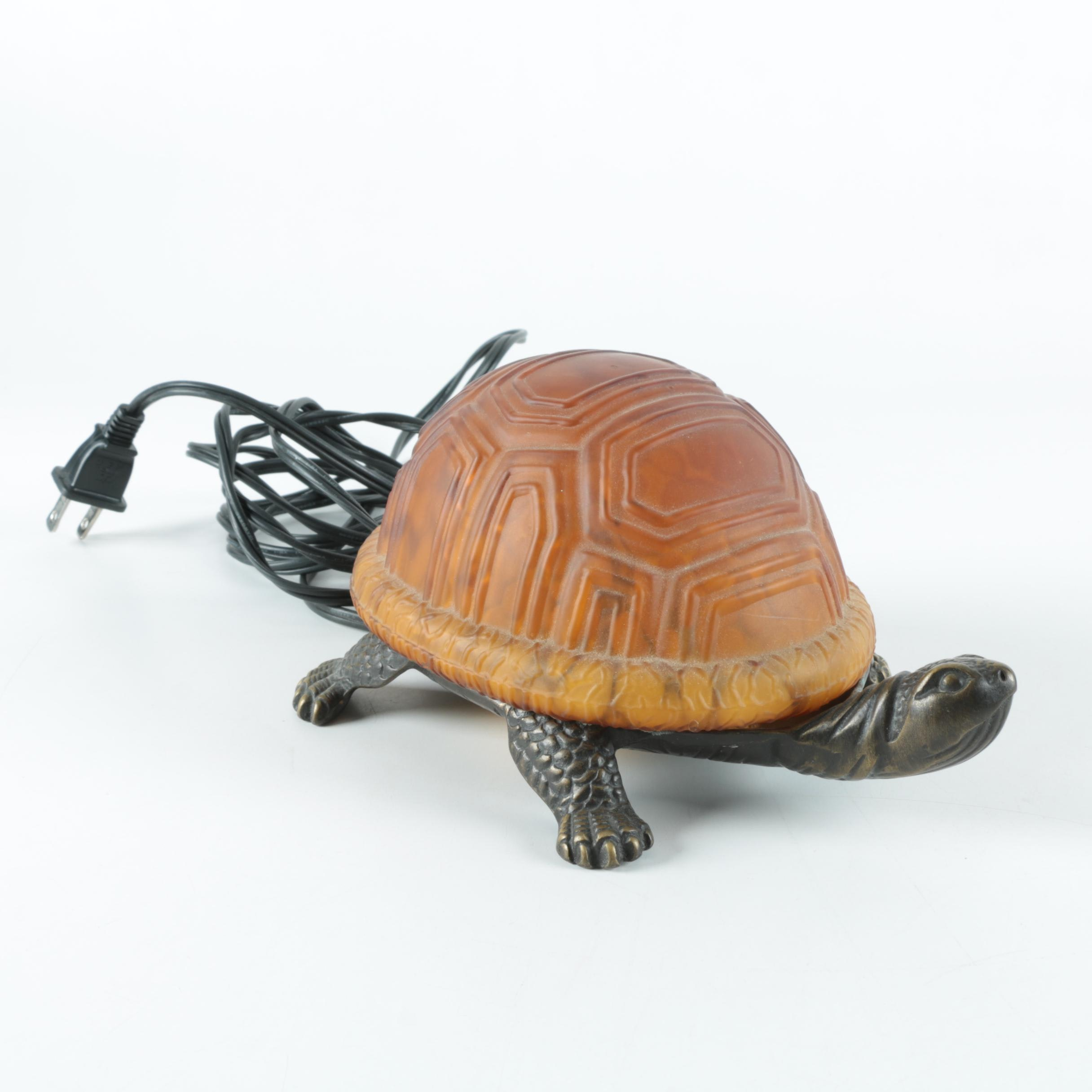 Metal and Glass Figural Turtle Lamp