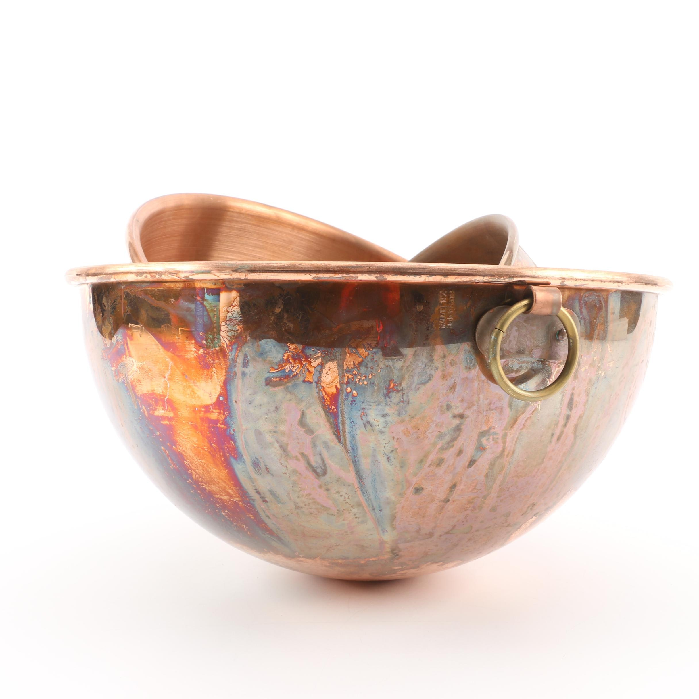 Mauviel France Copper Nesting Bowls with Brass Hanging Rings