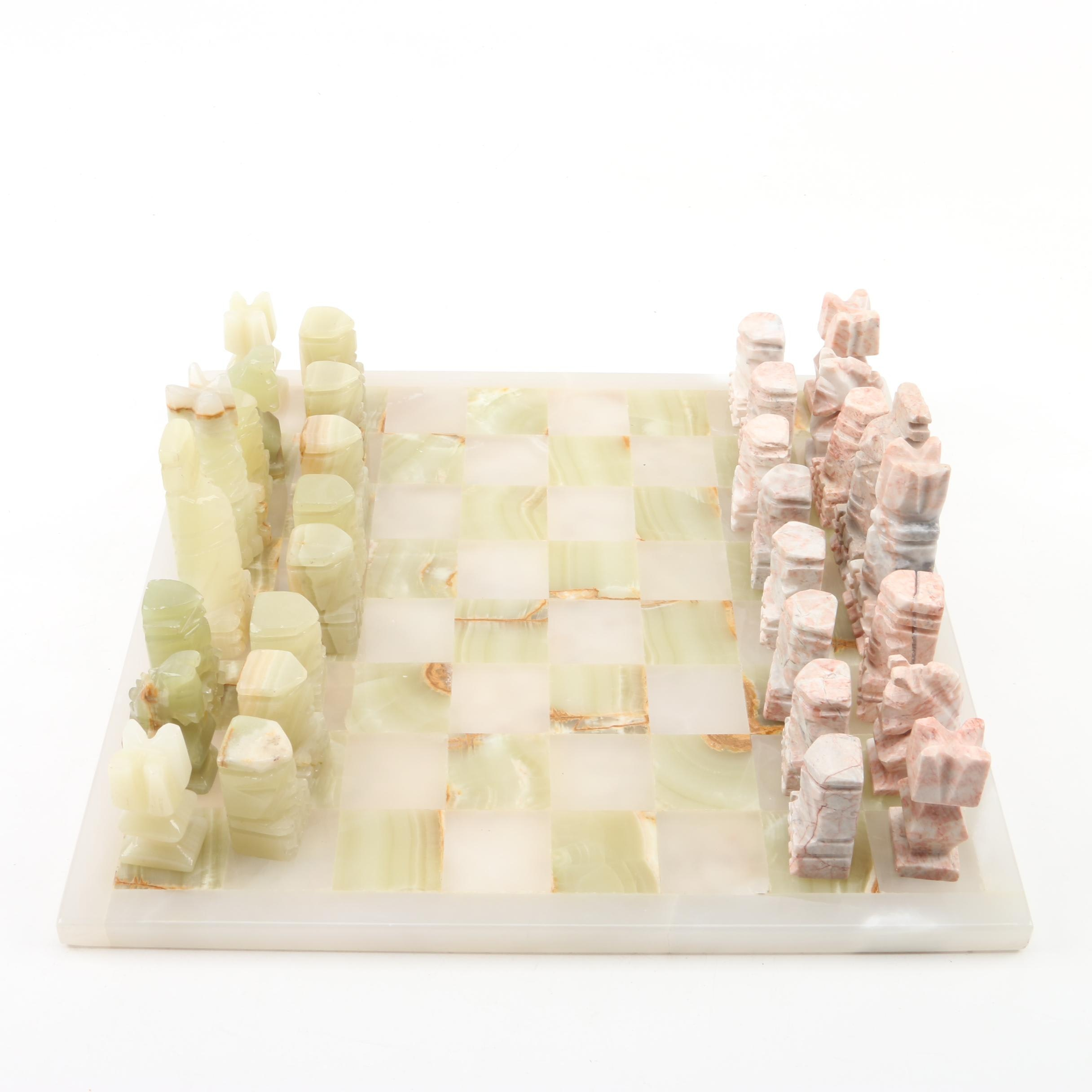 Calcite and Marble Chess Set