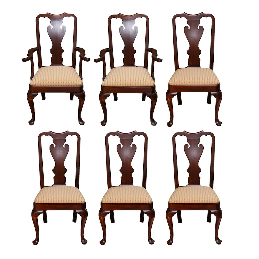 Cherry Dining Room Chairs: Set Of Queen Anne Style Cherry Dining Room Chairs