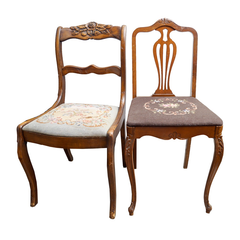 Pair Of Vintage Victorian Style Chairs With Needlepoint Seats