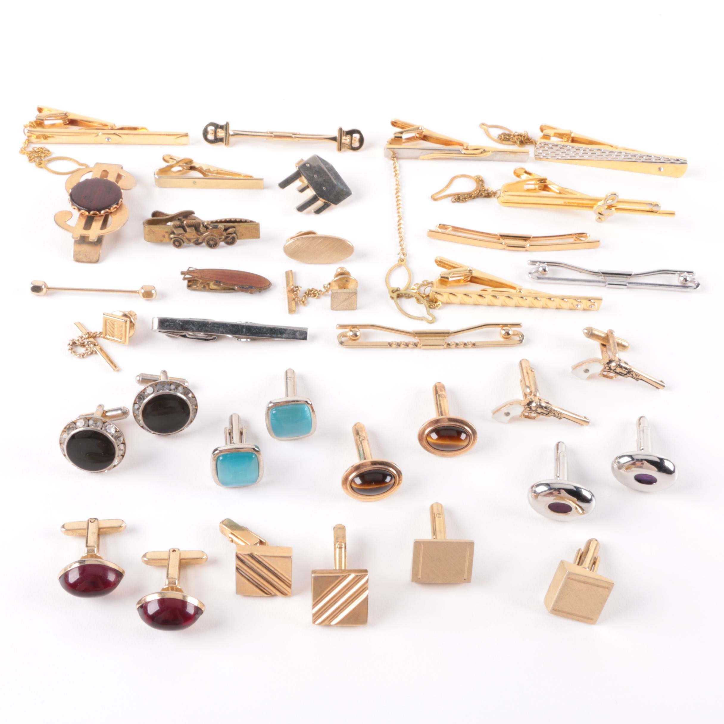 Cufflink and Tie Clip Selection Featuring Mother of Pearl and Tiger's Eye
