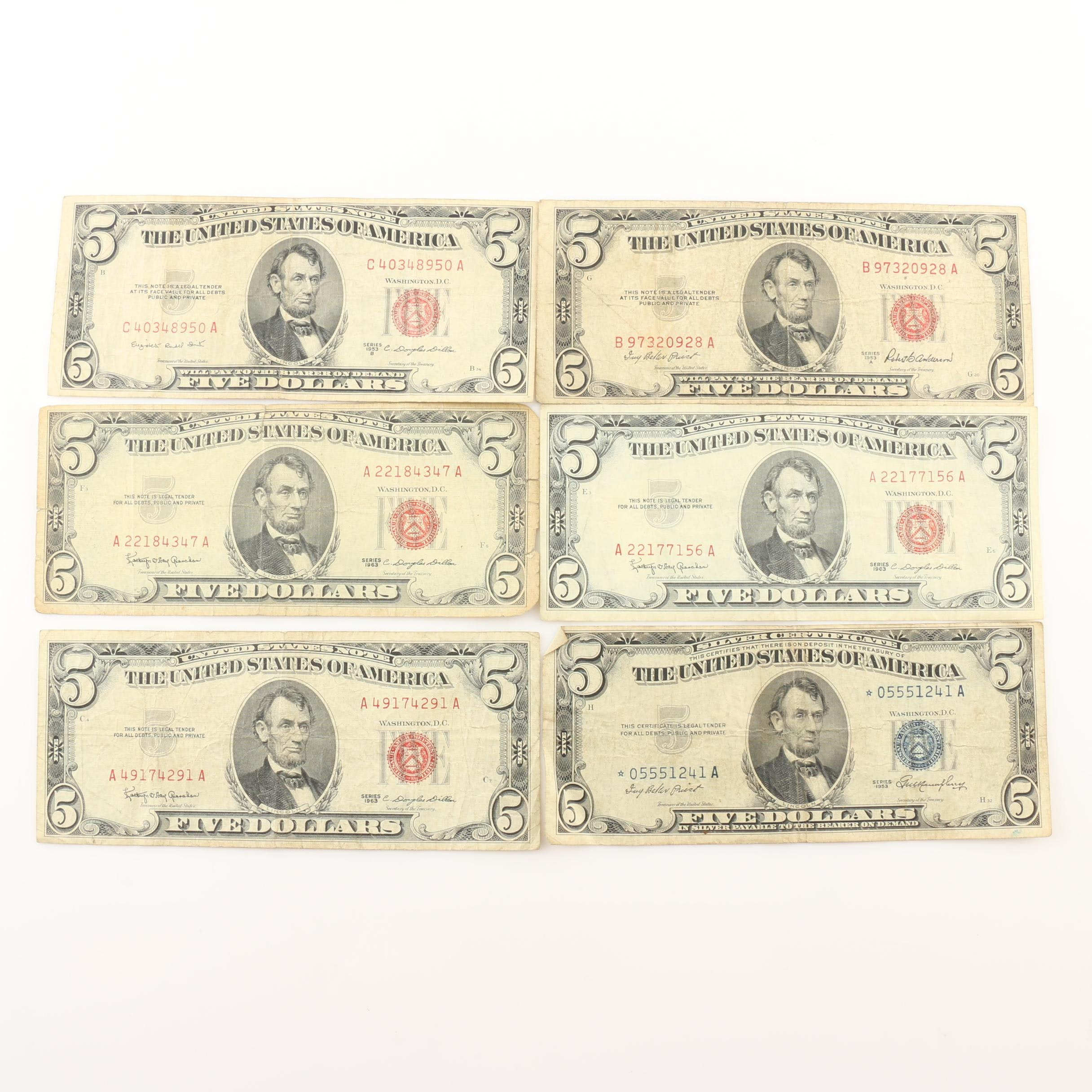 Group of Six $5 U.S. Currency Notes from 1953 and 1963