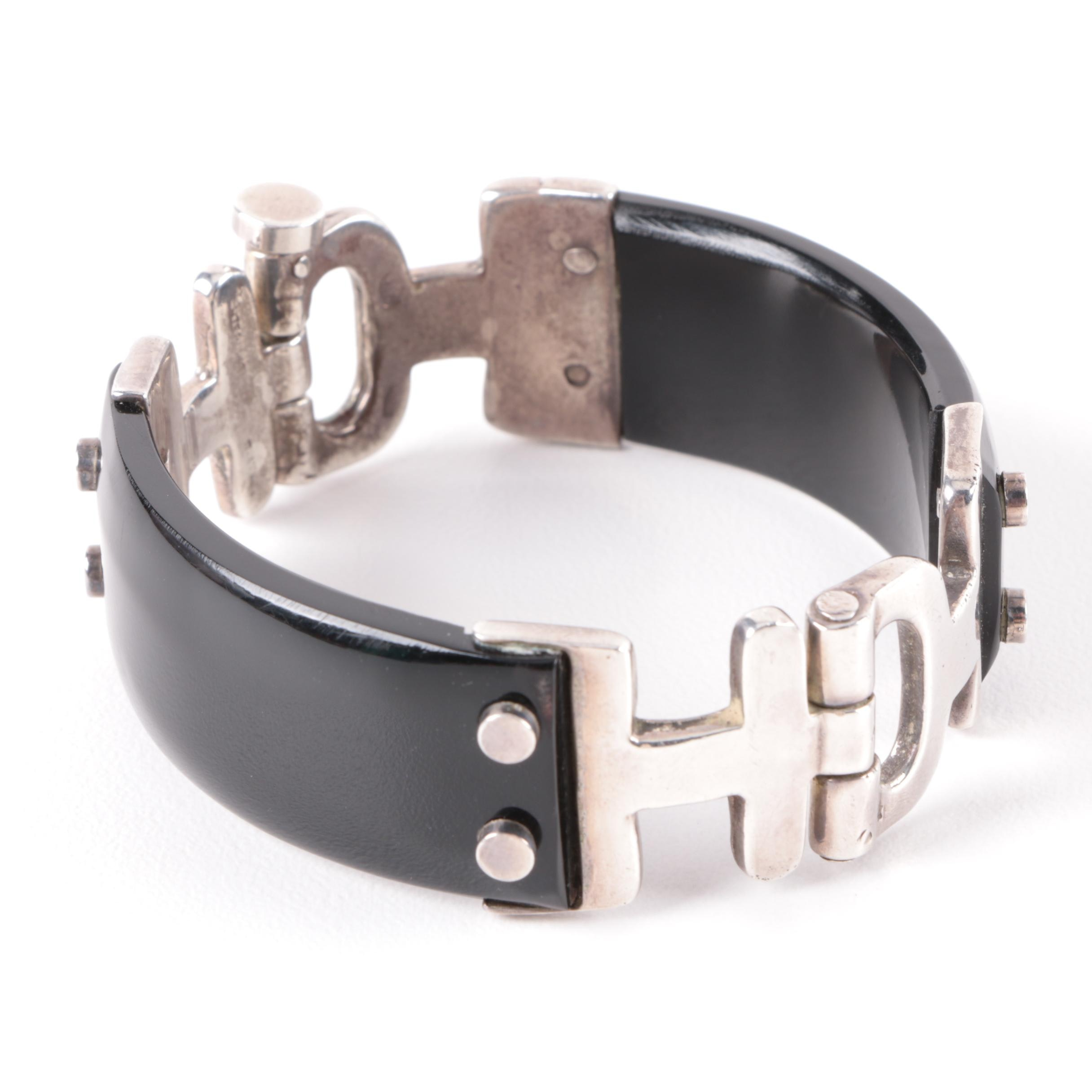 Sterling Silver Black Composite Bracelet with Snap Closure
