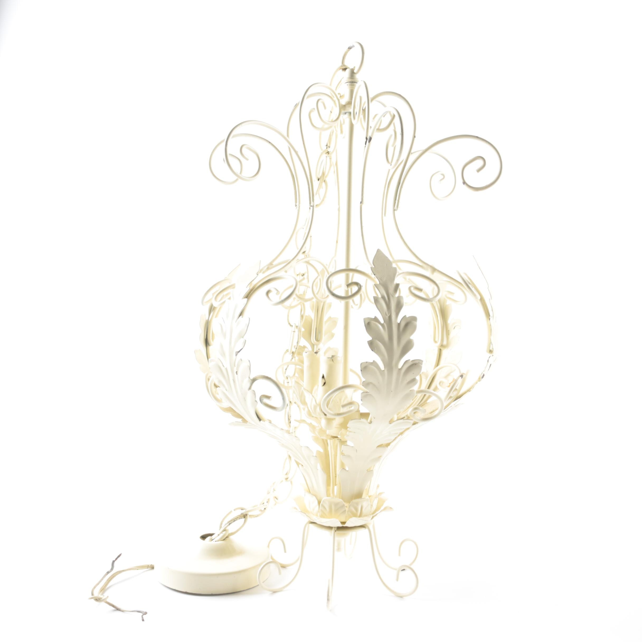 White Iron Reticulated Chandelier