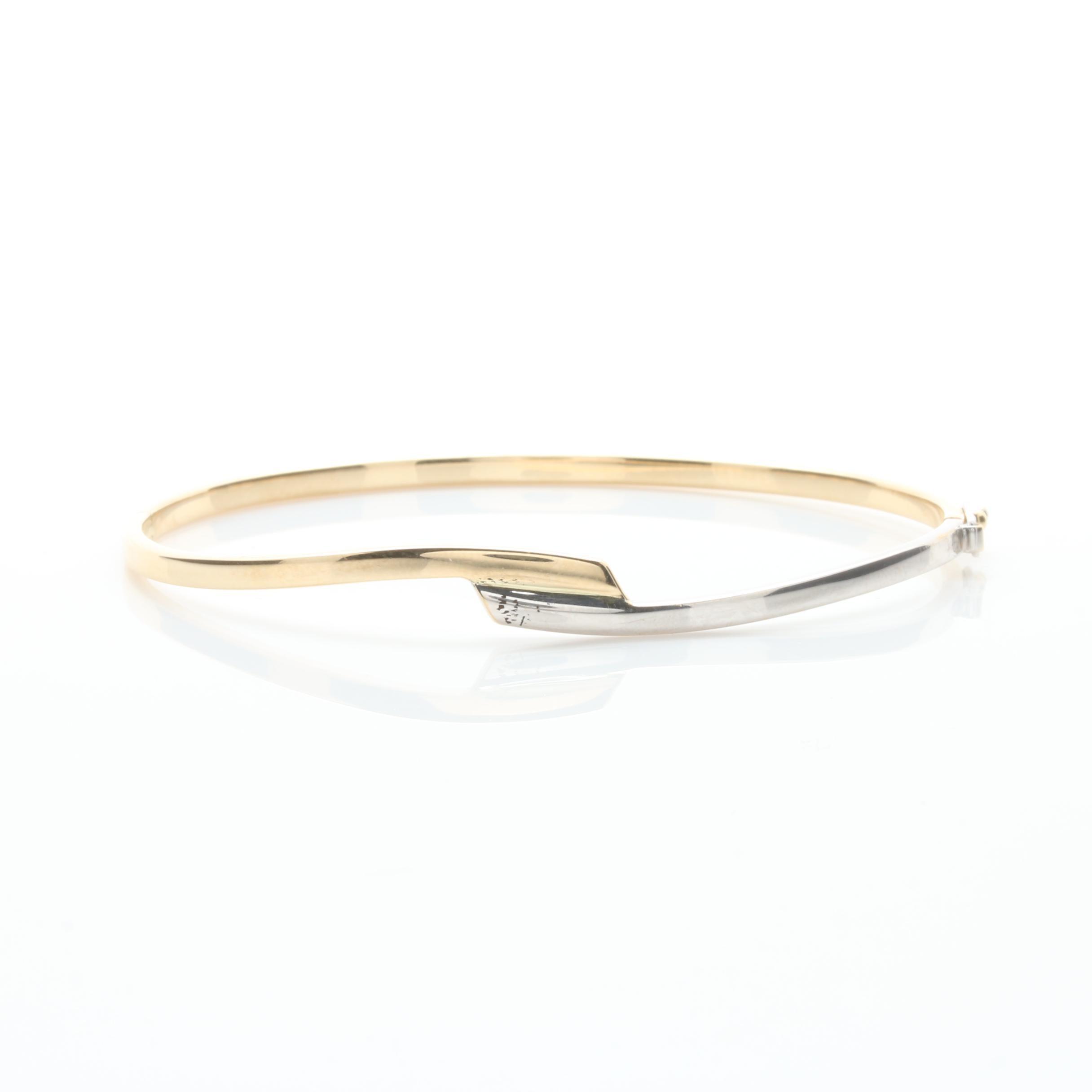 14K White and Yellow Gold Hinged Bangle Bracelet