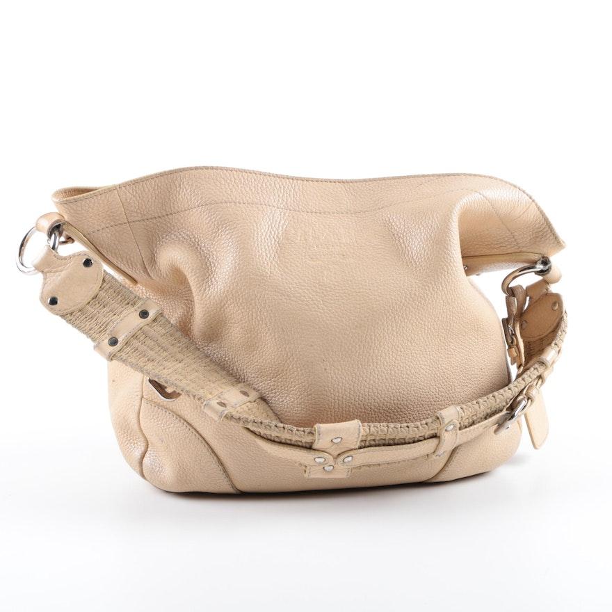fe797b80f08c Prada Tan Pebbled Leather Hobo Bag with Rope Handle   EBTH