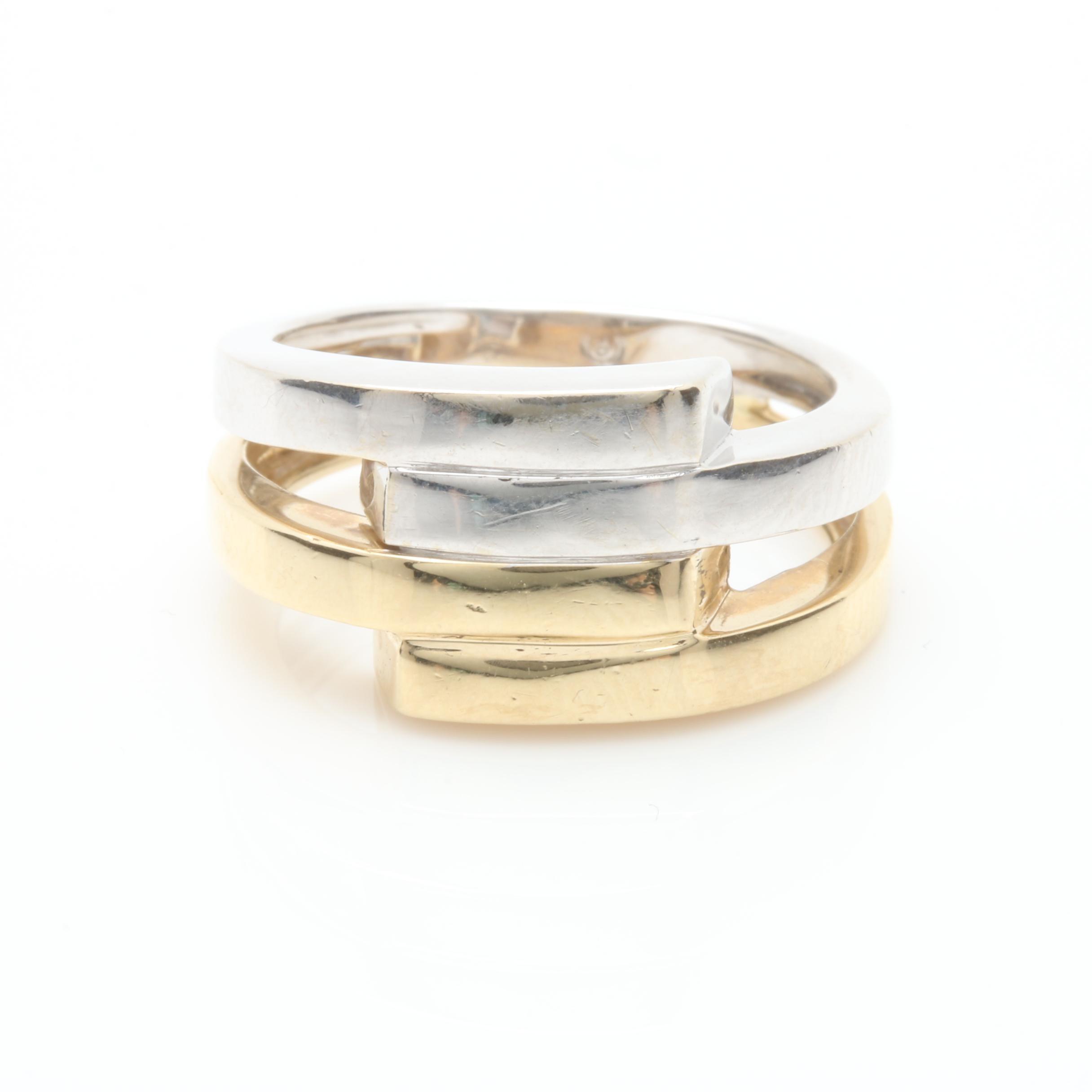 14K White and Yellow Gold Open Interlocking Ring