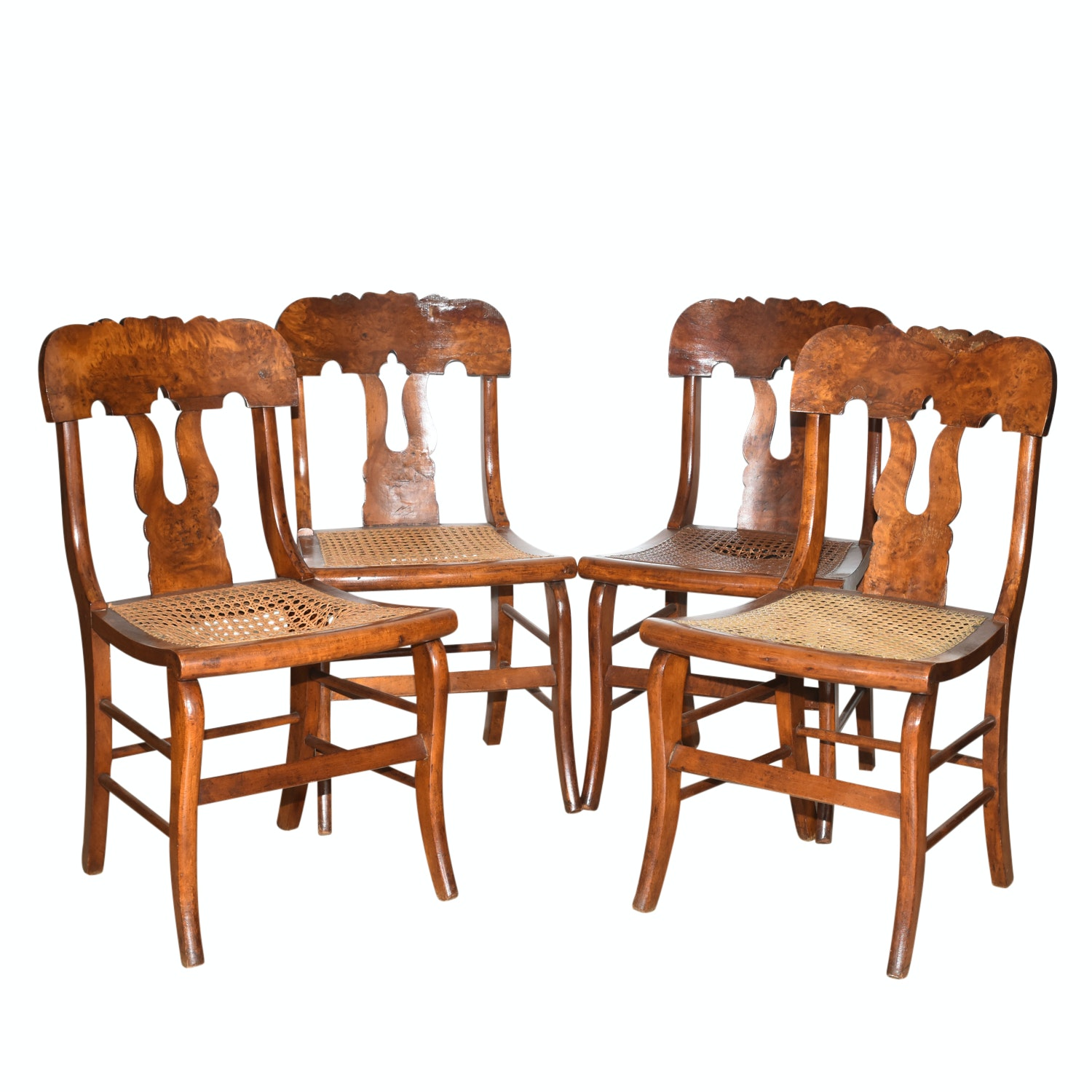 Four Antique Burl Veneer Caned Side Chairs