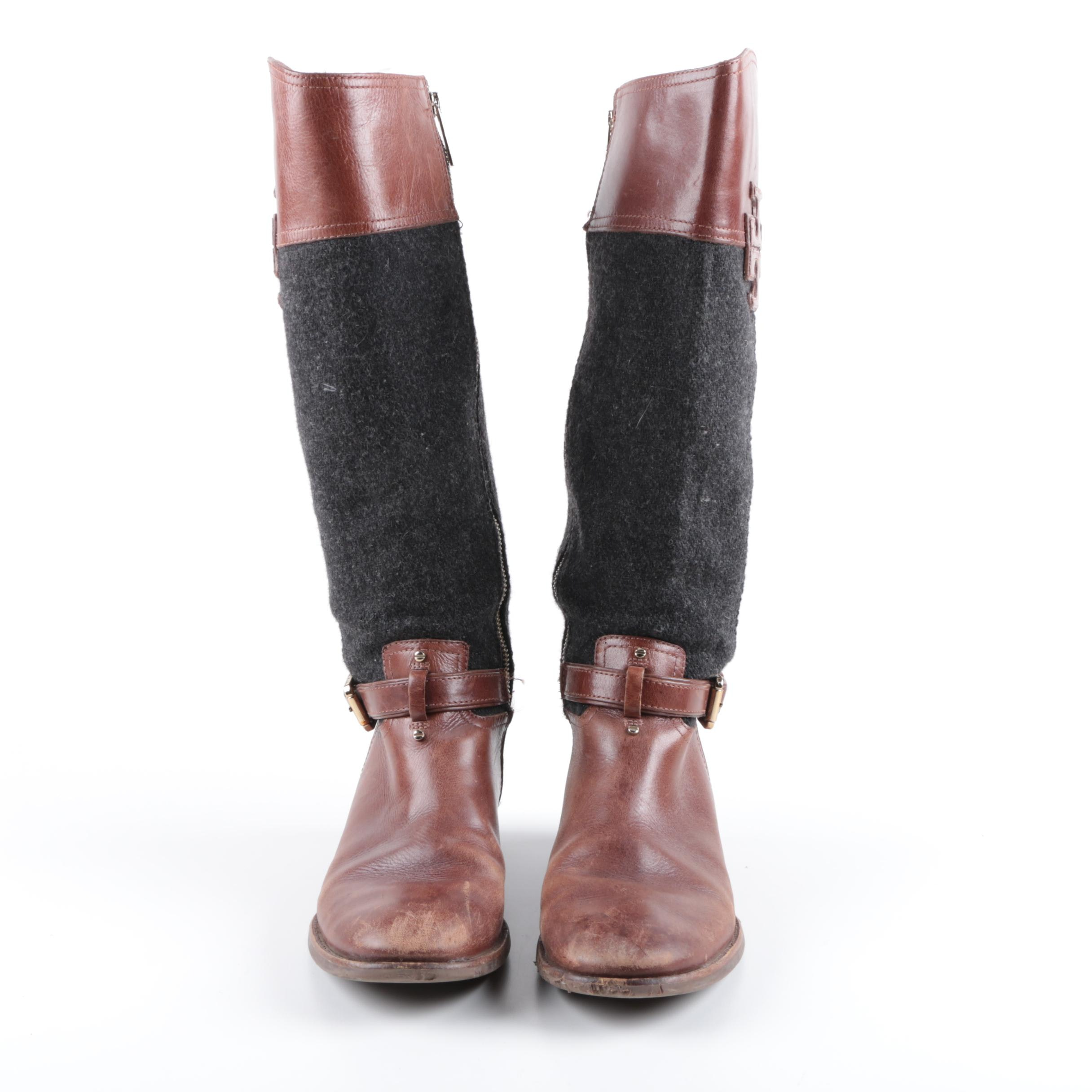 Tory Burch Leather and Wool Riding Boots
