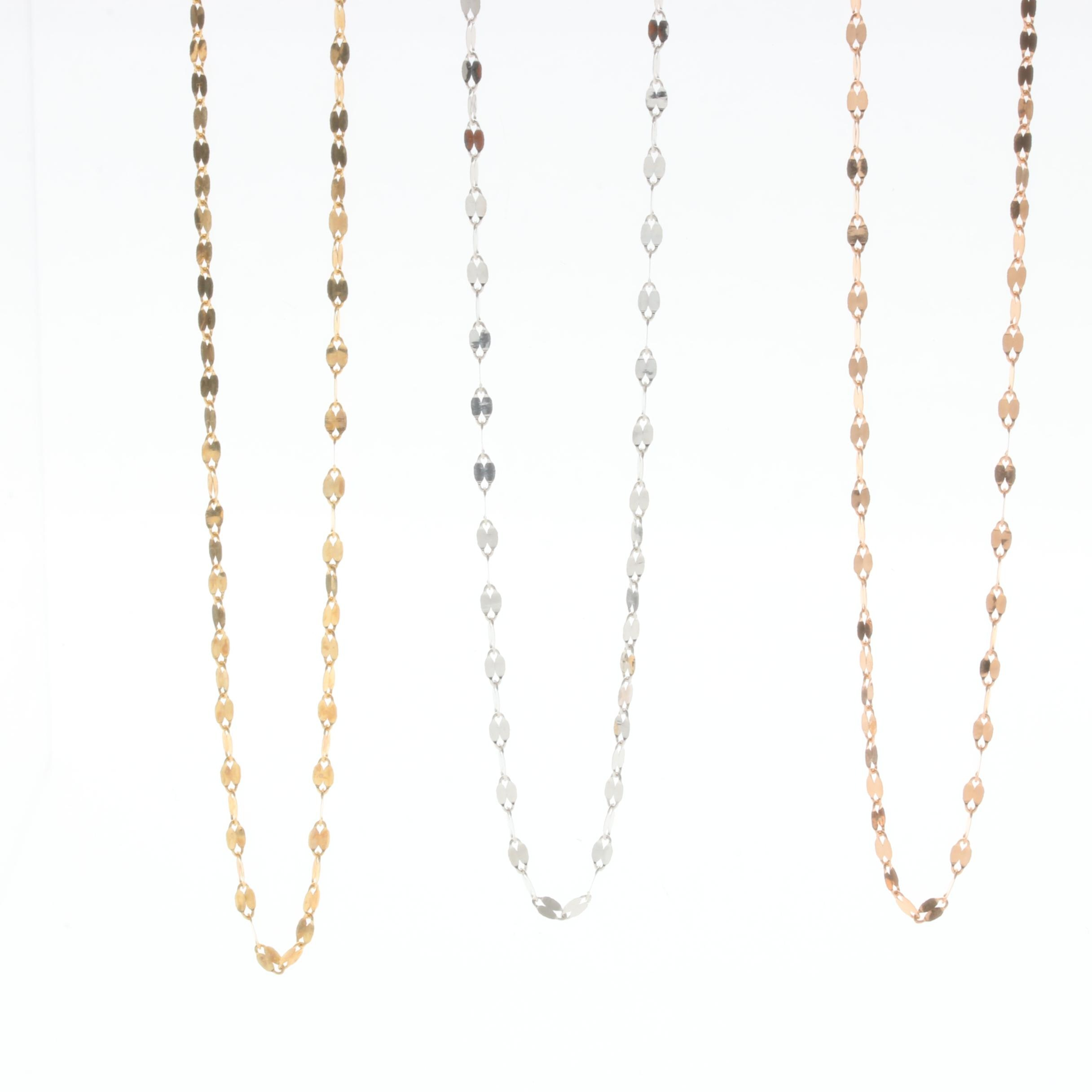 10K Yellow, White and Rose Gold Necklaces
