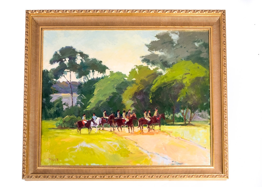 Frizbe Oil Painting of Figures on Horseback