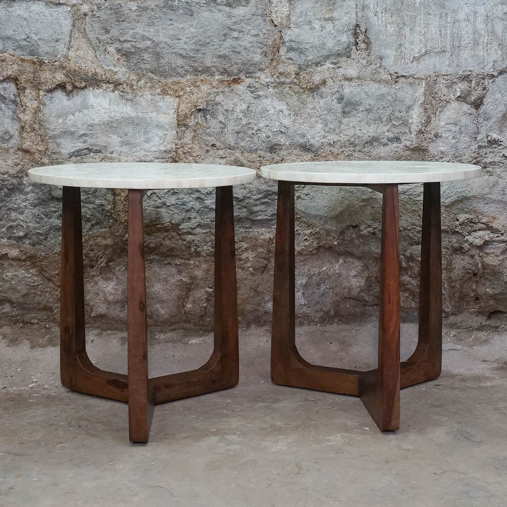 Pair Of Danish Modern Style Tile Top End Tables ...