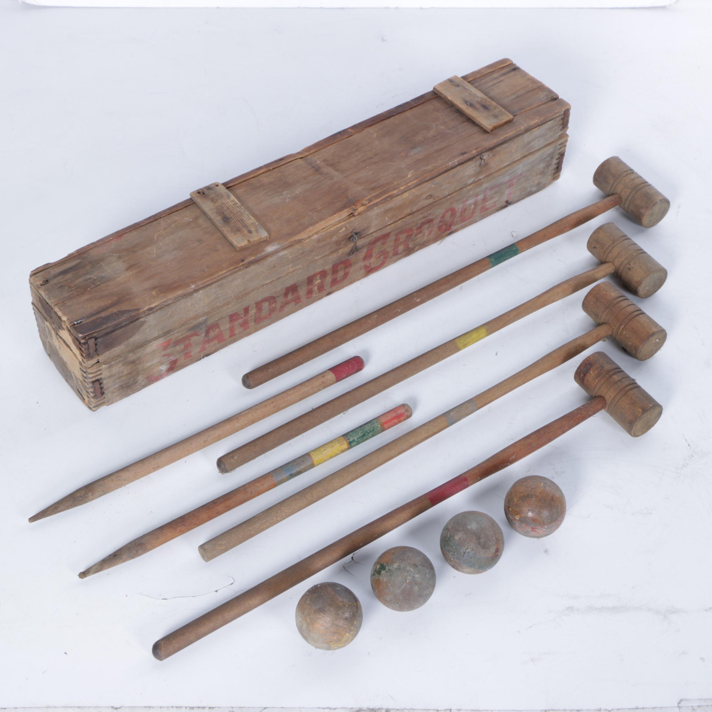 1920s Standard Brand Wooden Croquet Set