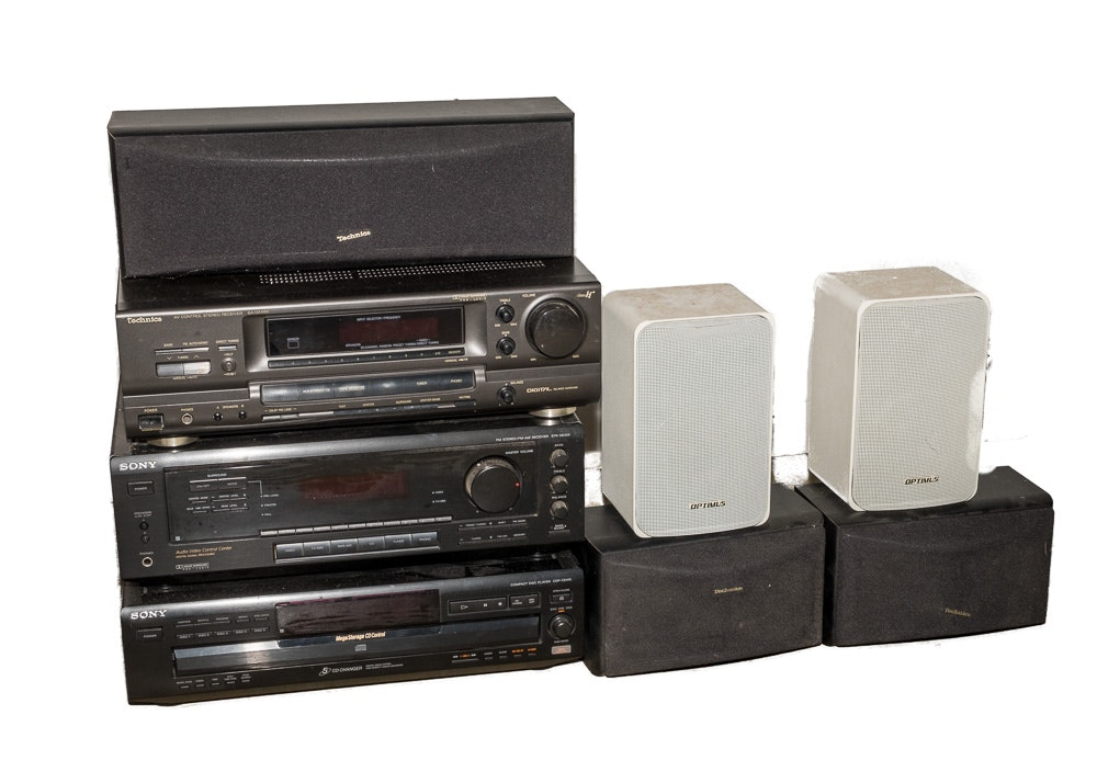 Optimus, Technica and Sony CD Players, Stereo Receivers and Speakers