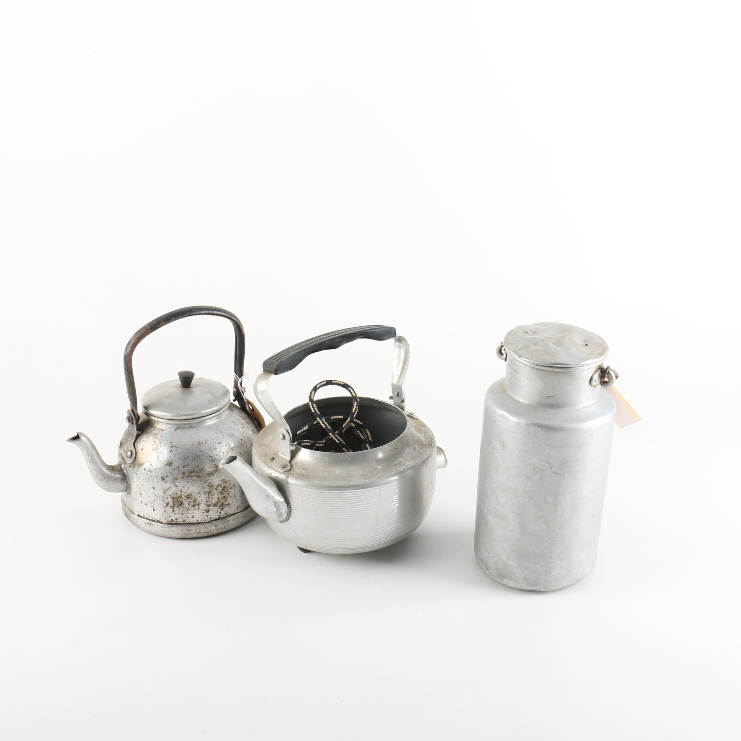 Metal Tea Kettle and Coffee Pot with Jar