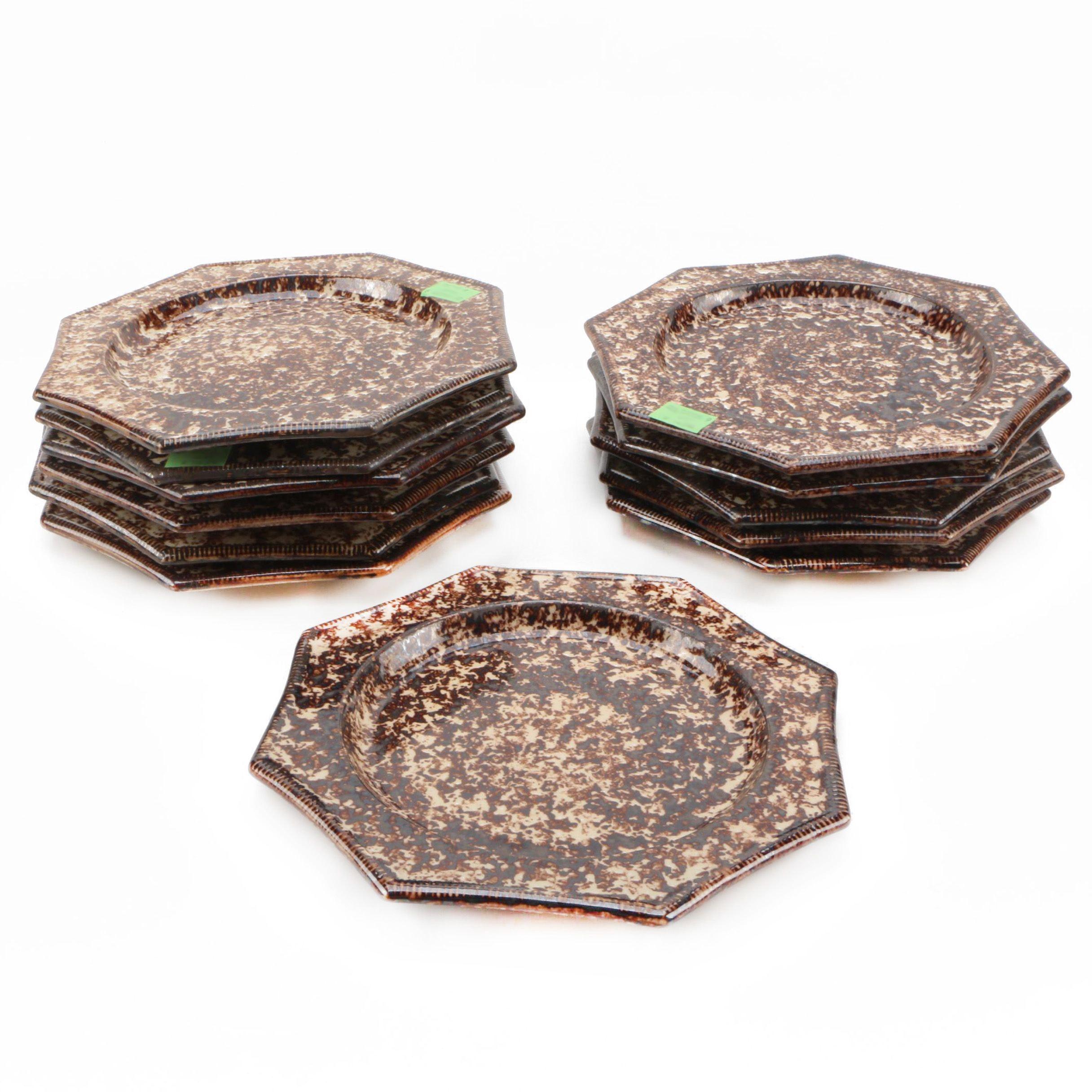 Vintage Brown Spongeware Salad Plates