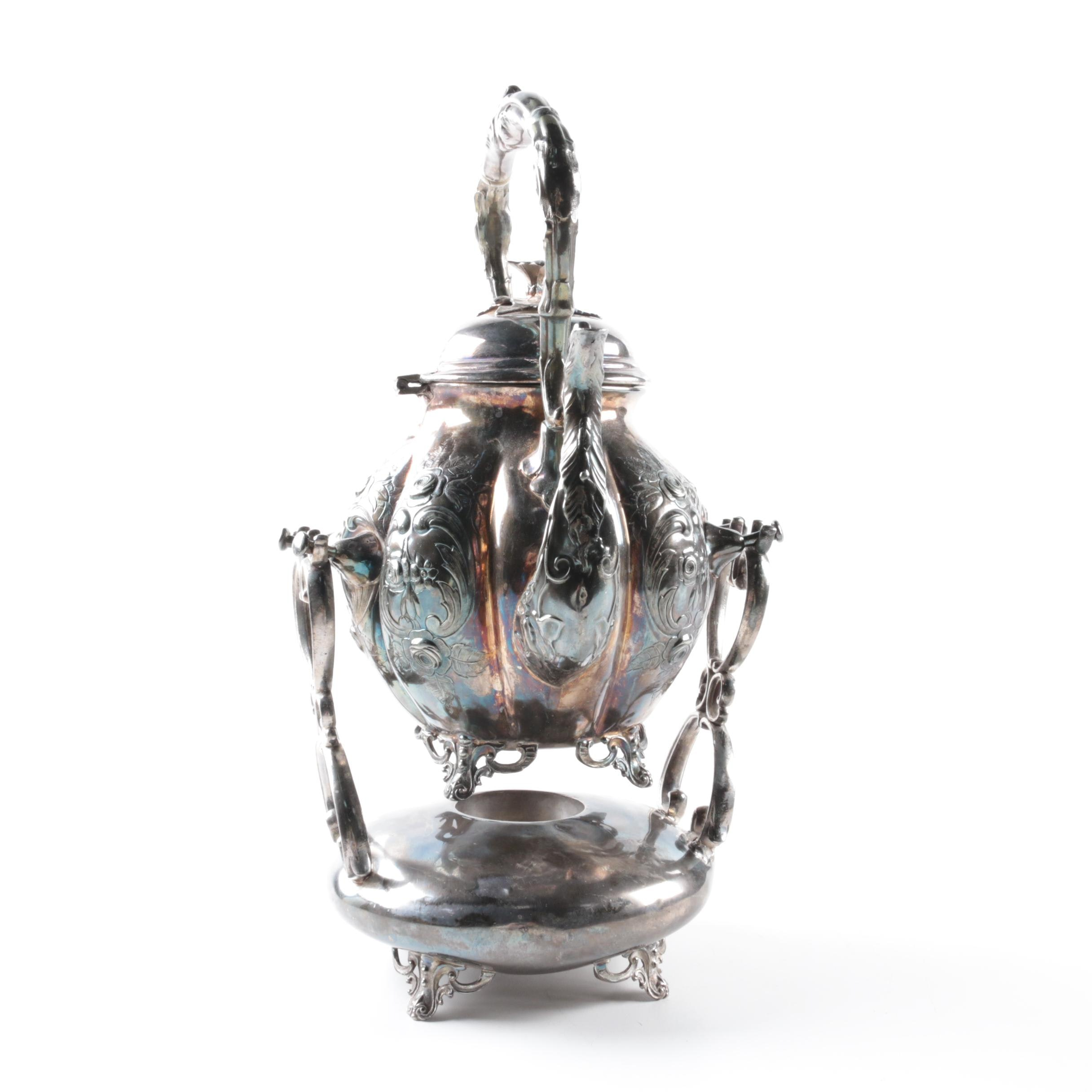 Silver Plate Rose and Scroll Kettle with Warming Stand