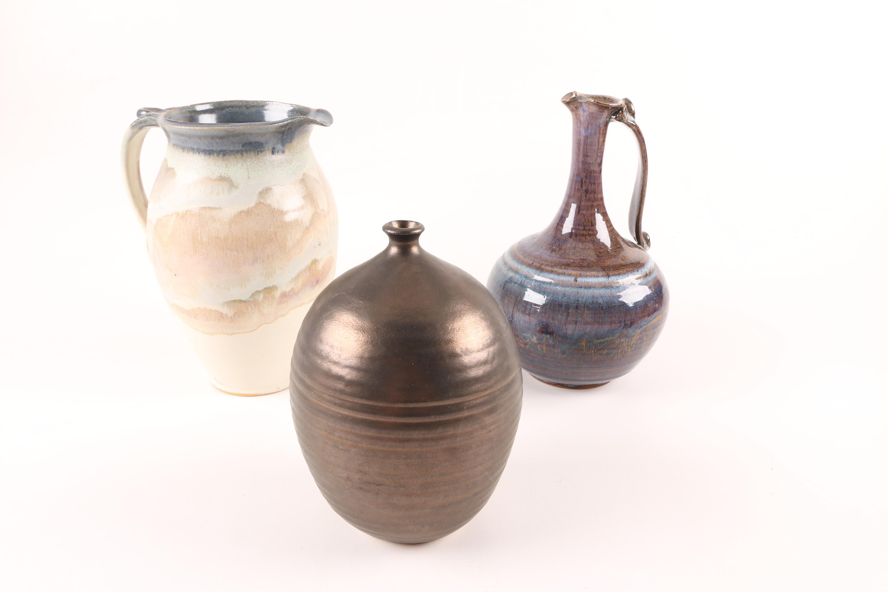 Signed Handthrown Stoneware Pitchers and Vase
