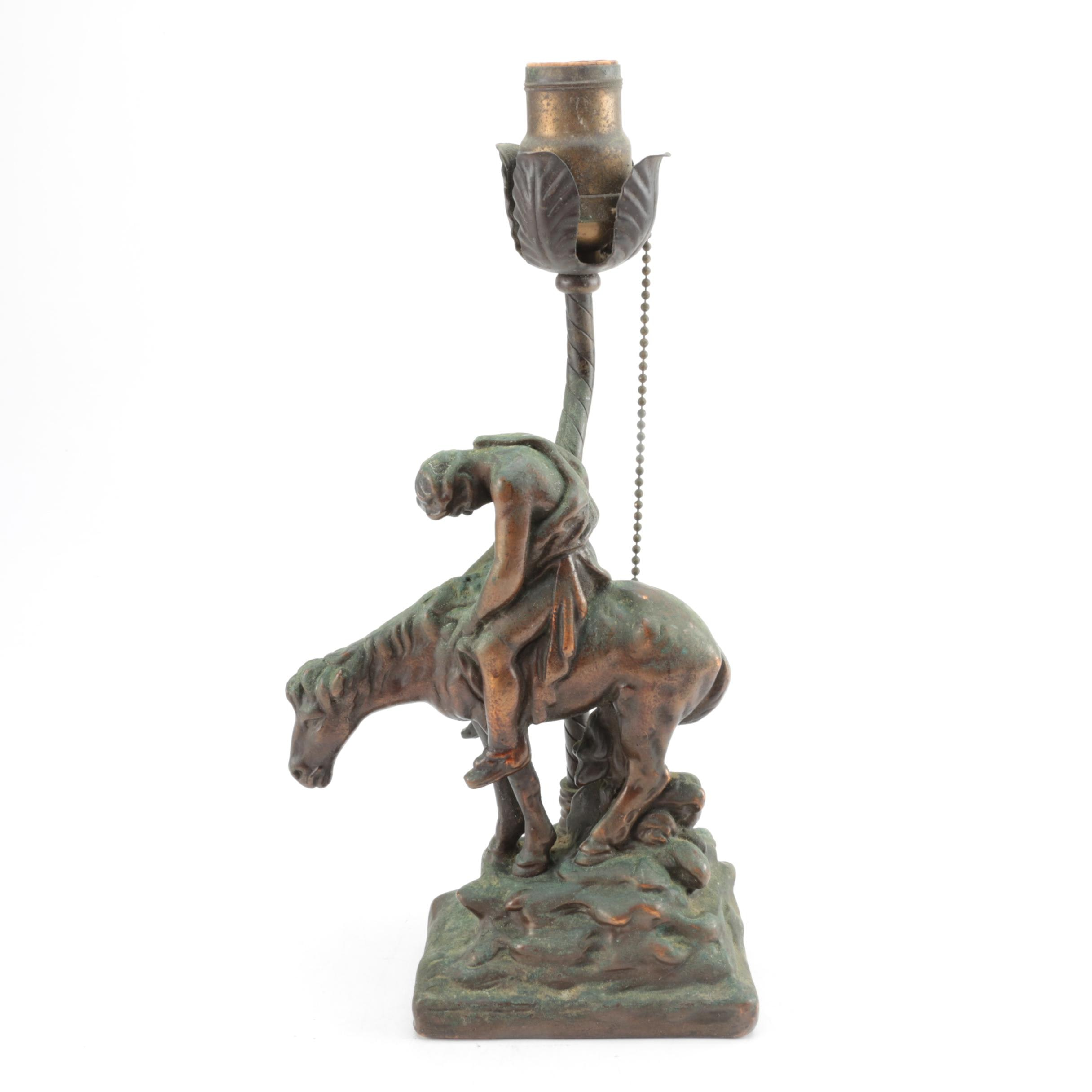 "Vintage Figural Accent Lamp After ""The End of the Trail"""