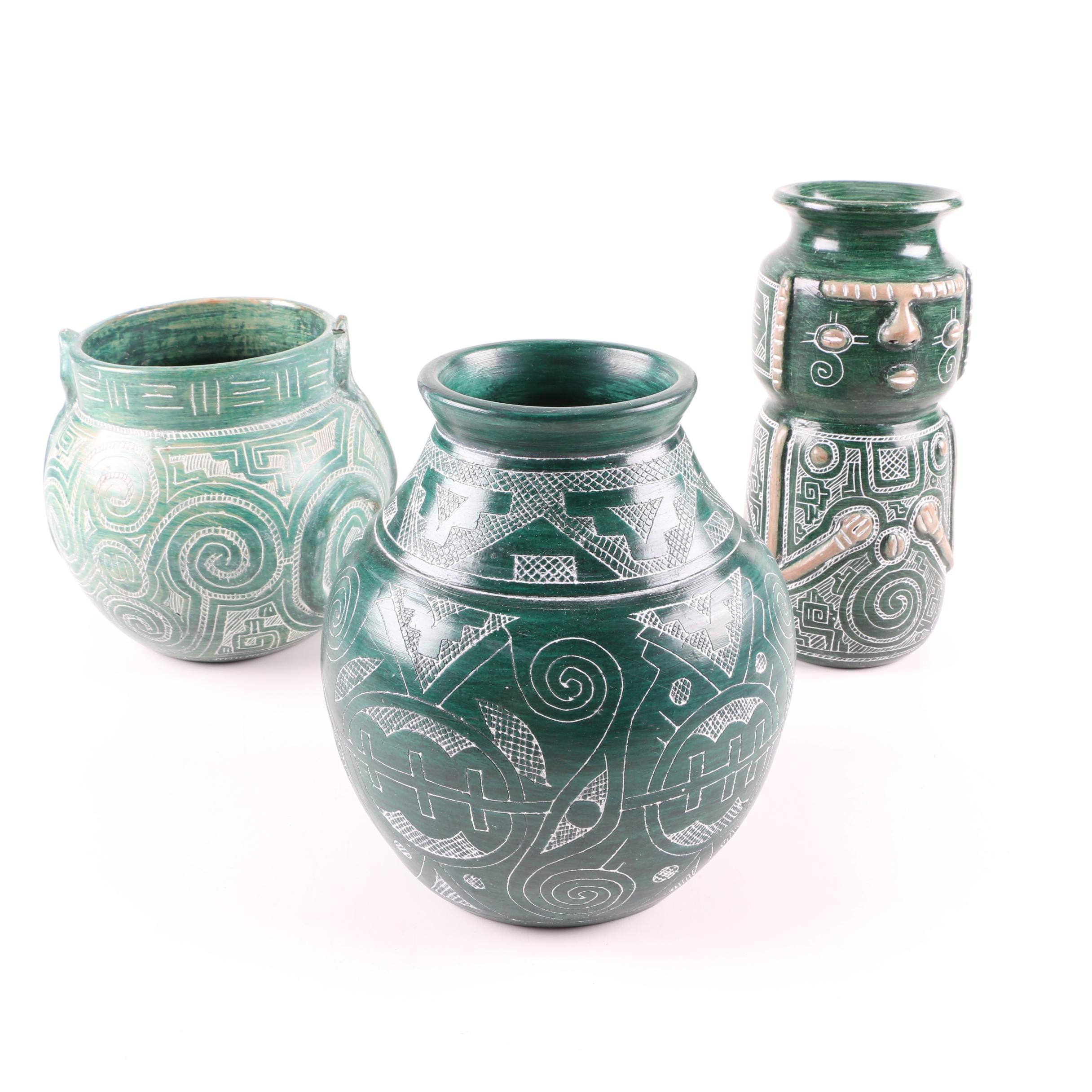 Vintage Brazilian Green and White Art Pottery Vessels
