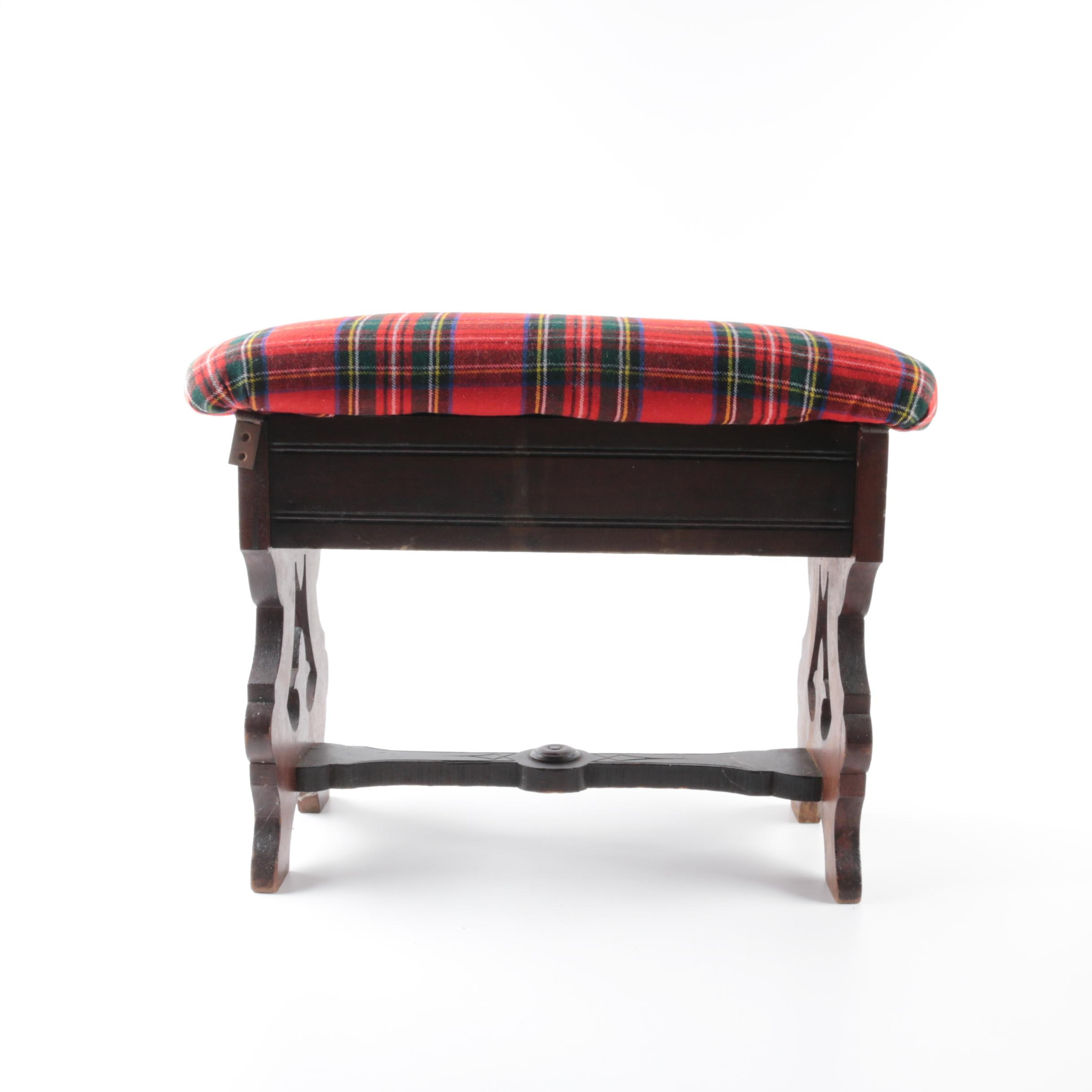 Victorian Walnut Stool with Plaid Upholstered Seat