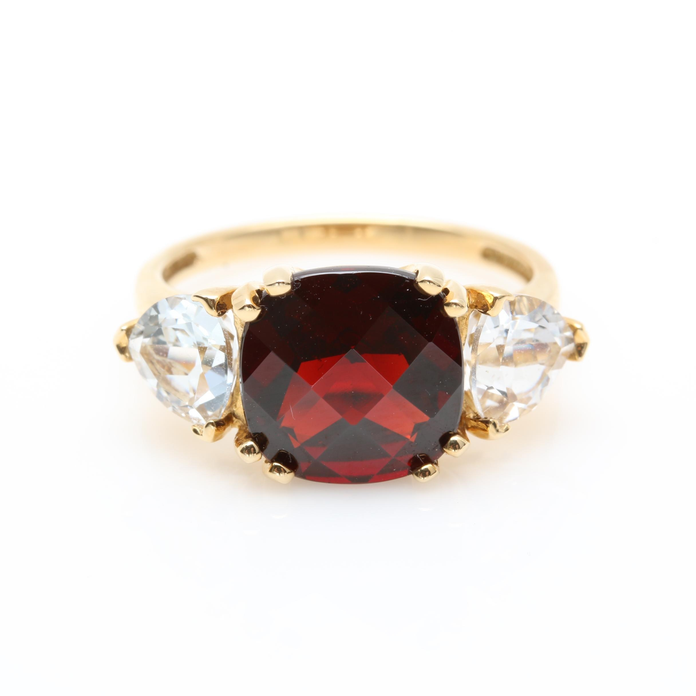 14K Yellow Gold Garnet and Synthetic White Sapphire Ring