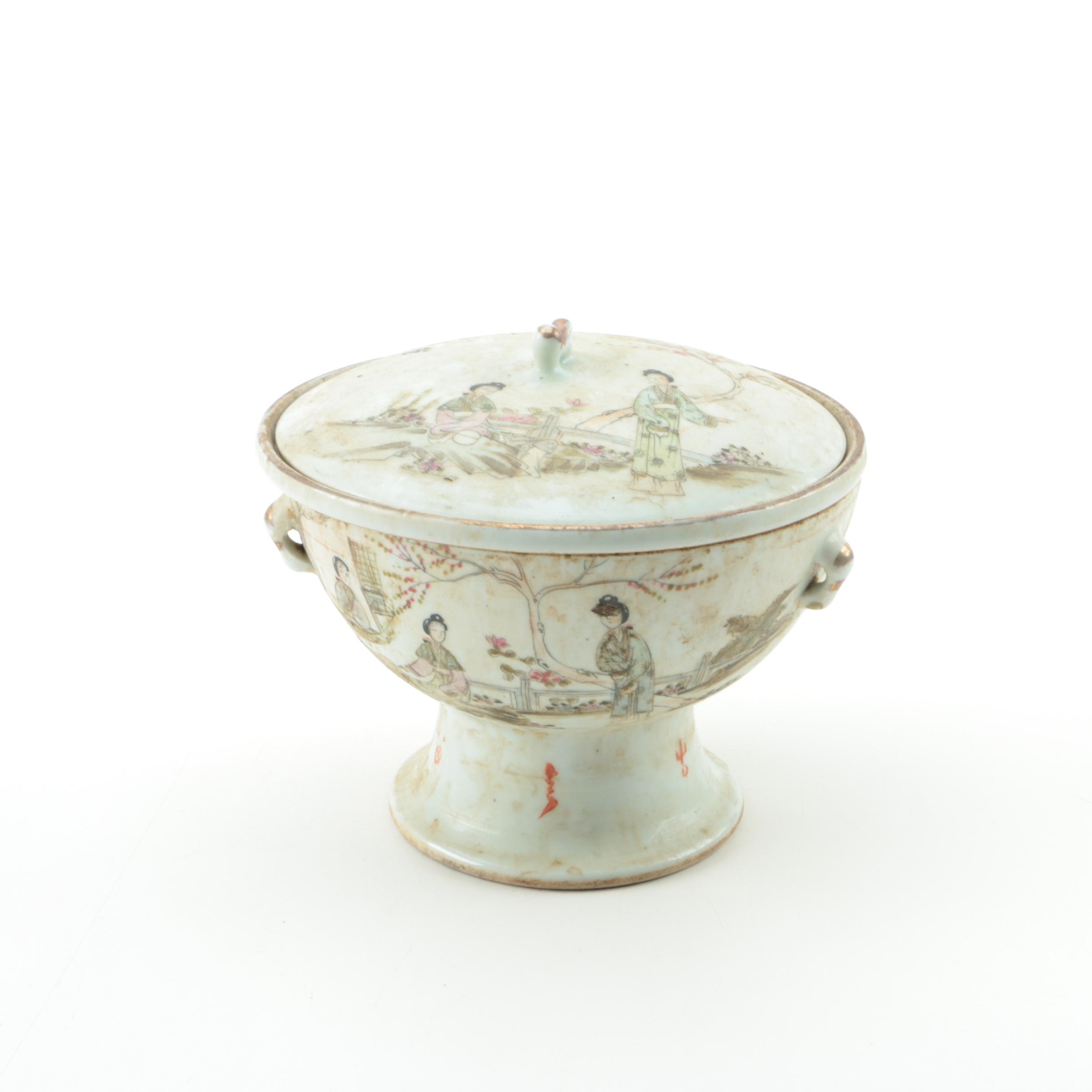Chinese Porcelain Hand Painted Pedestal Bowl