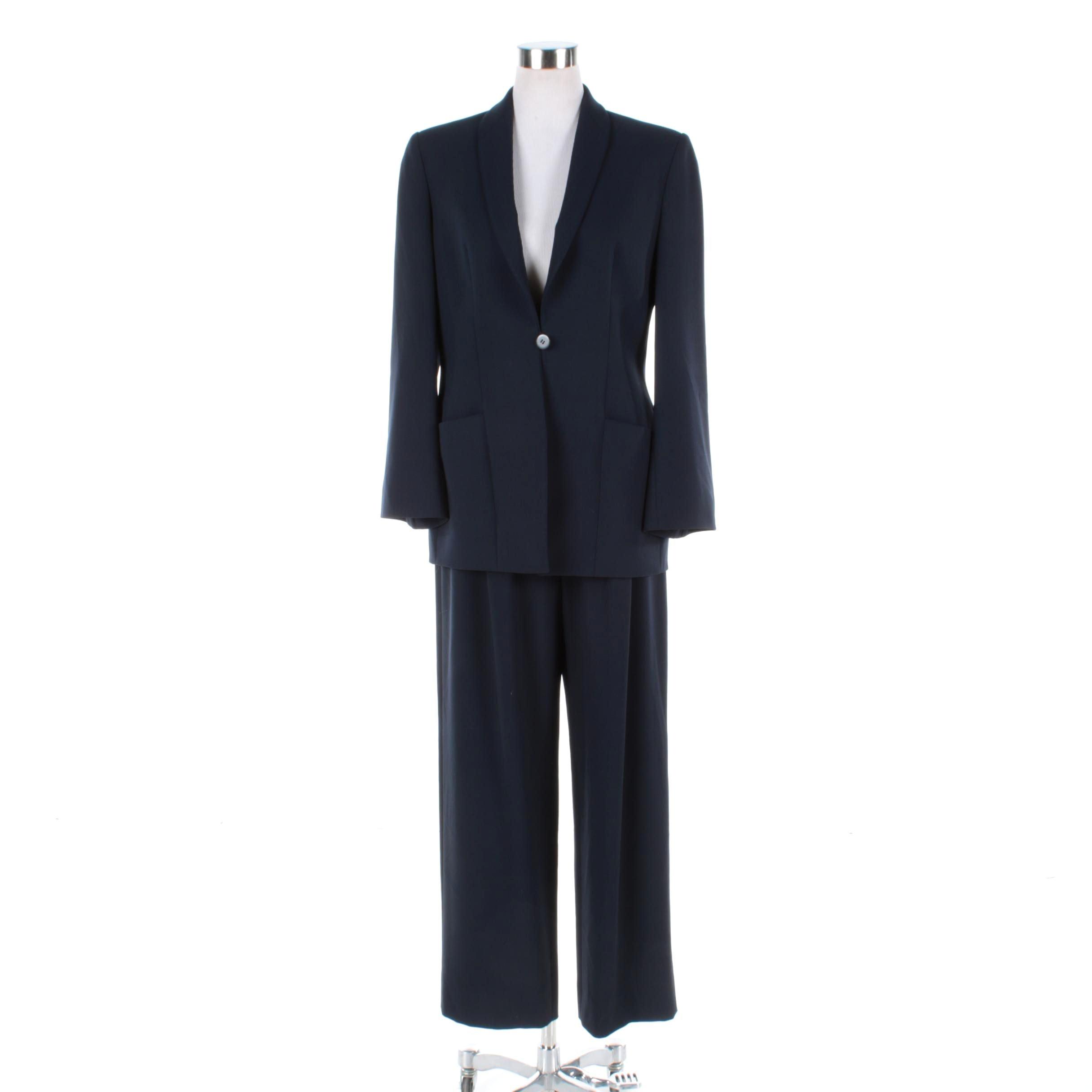 Women's Vintage Giorgio Armani Navy Blue Wool Pant Suit