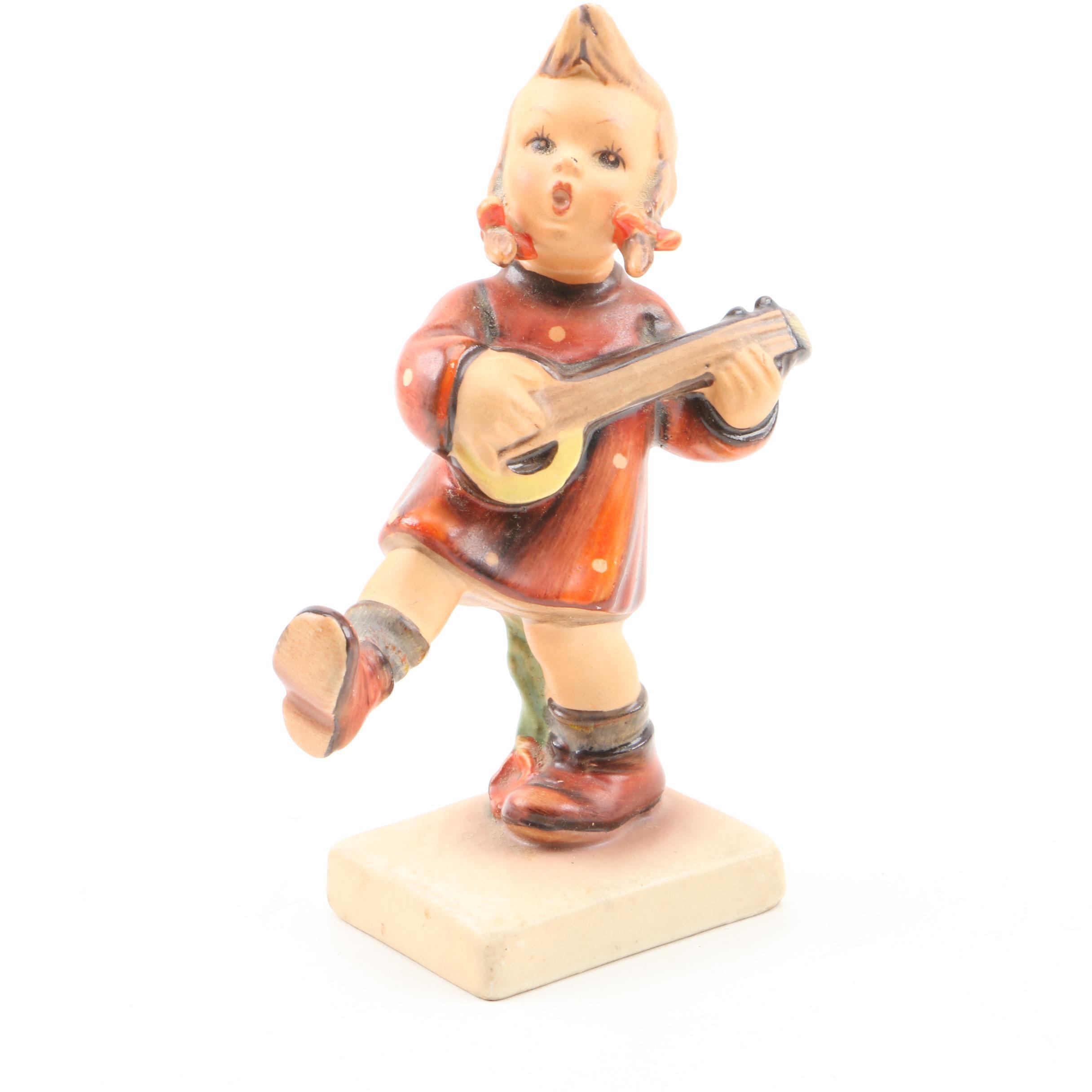 """Hummel Porcelain Figurine """"Little Girl Playing Banjo"""""""