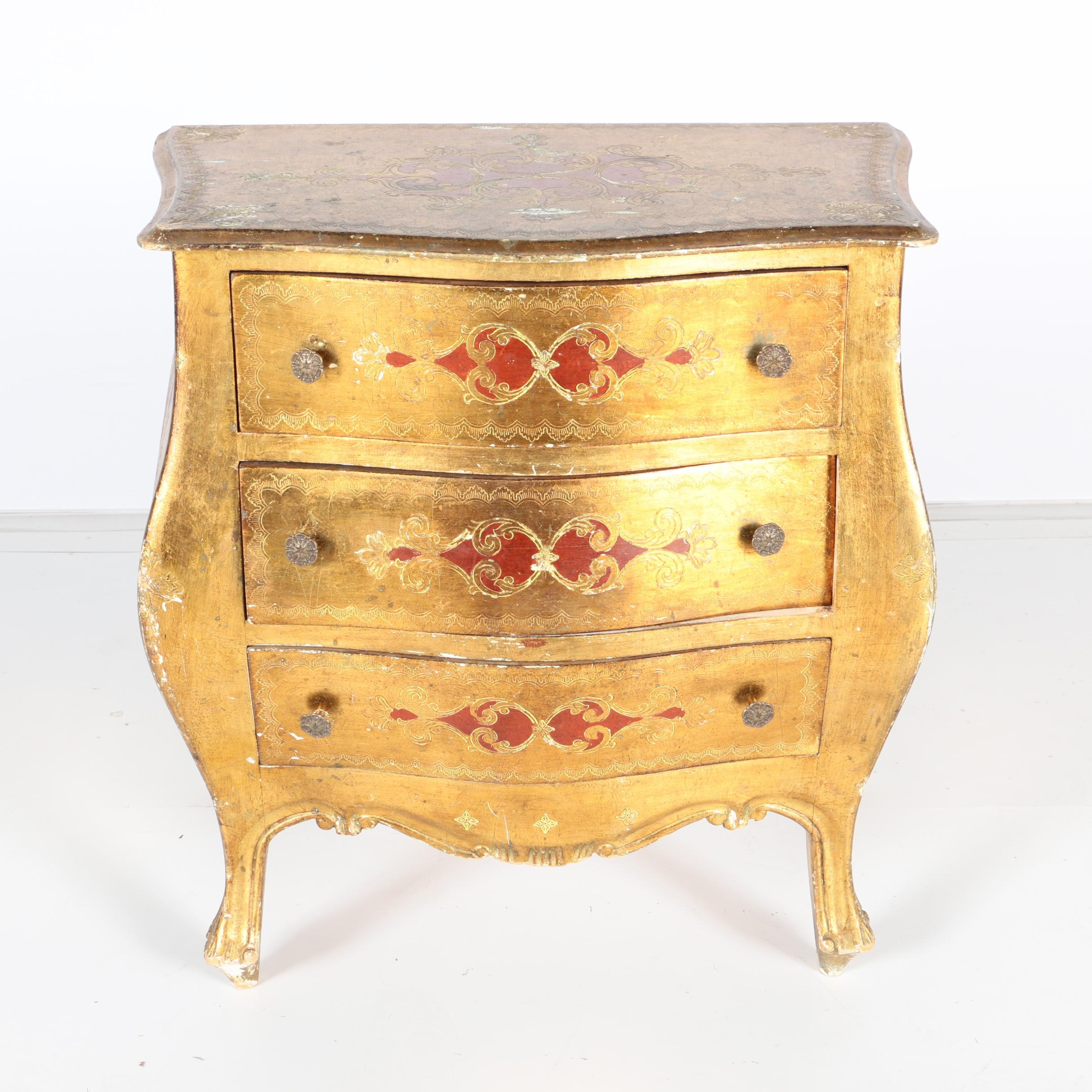 Small Italian Florentine Style Gilt-Wood Chest of Drawers