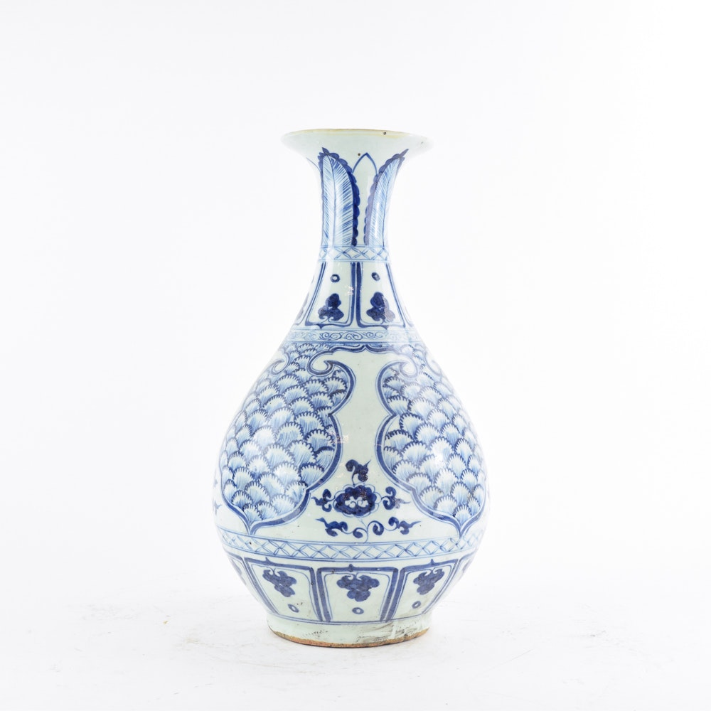 Chinese Hand-Painted Blue and White Ceramic Vase