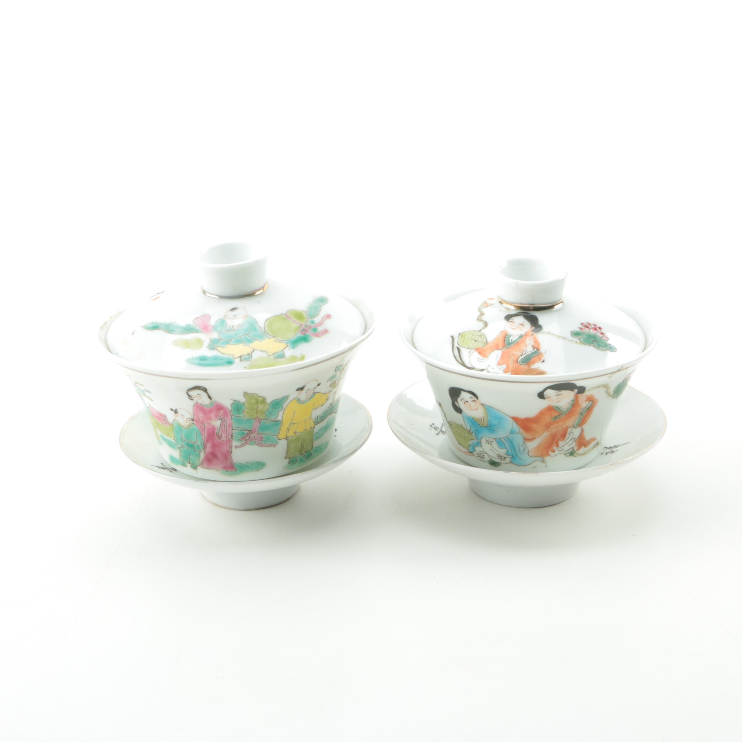 Chinese Ceramic Lidded Soup Bowls with Saucers