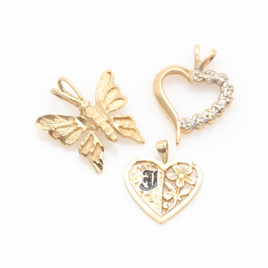 14K Yellow Gold Pendants Including Heart Shaped Diamond Pendant : EBTH