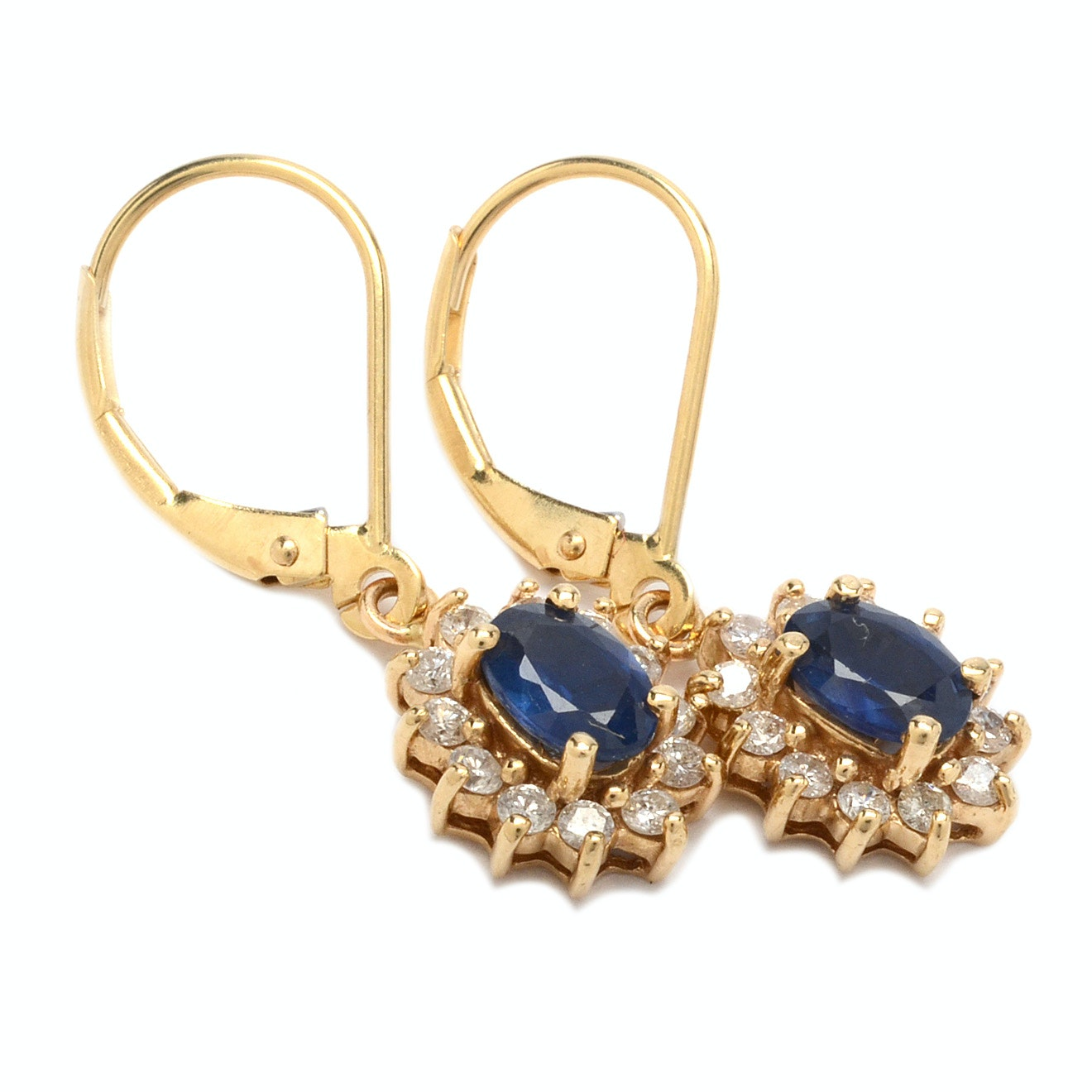 14K Yellow Gold Sapphire and Diamond Earrins