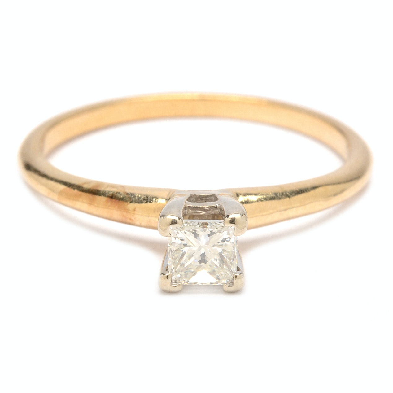 14K Yellow Gold Princess Cut Diamond Solitaire Ring
